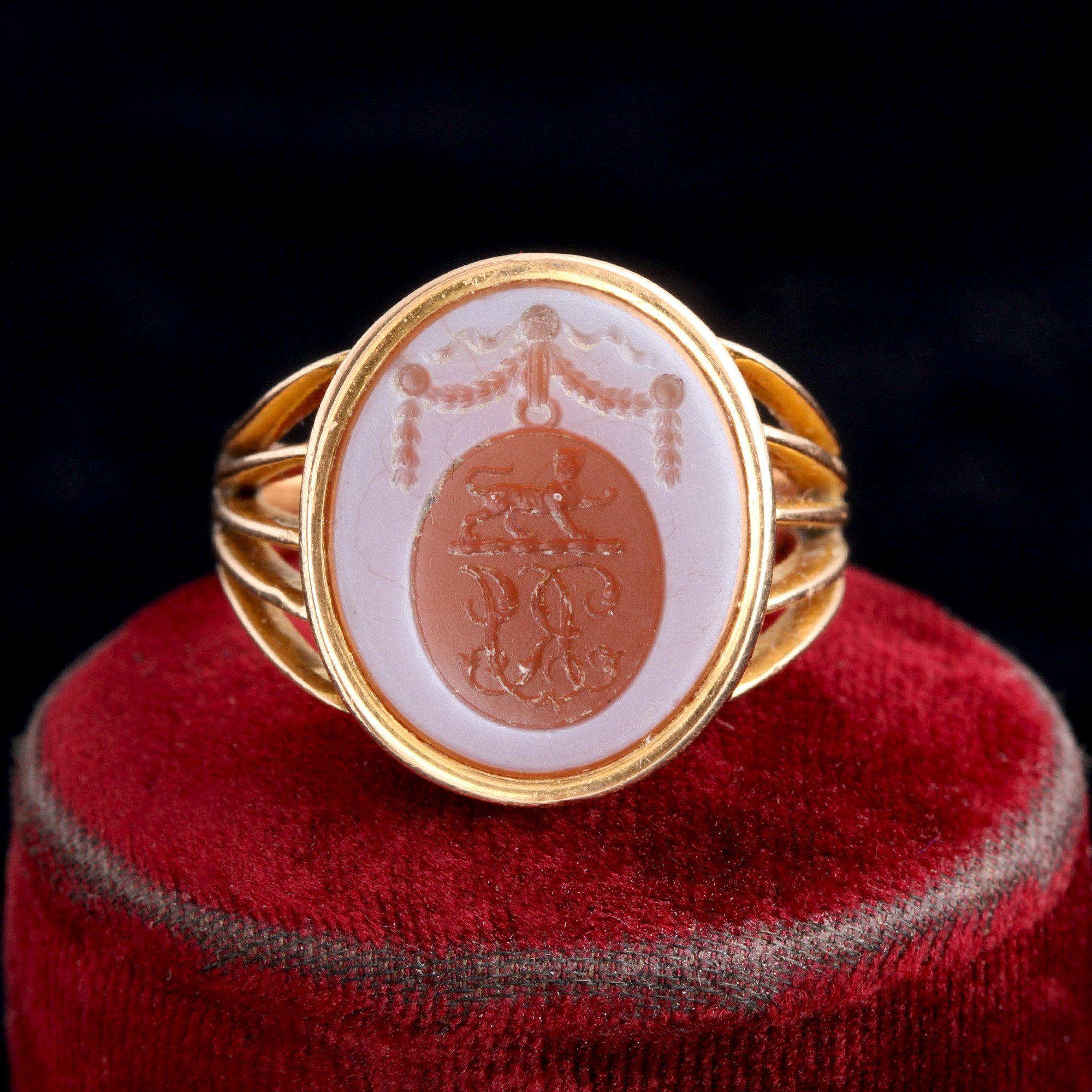 "Victorian ""RJ"" Sardonyx Intaglio Ring"