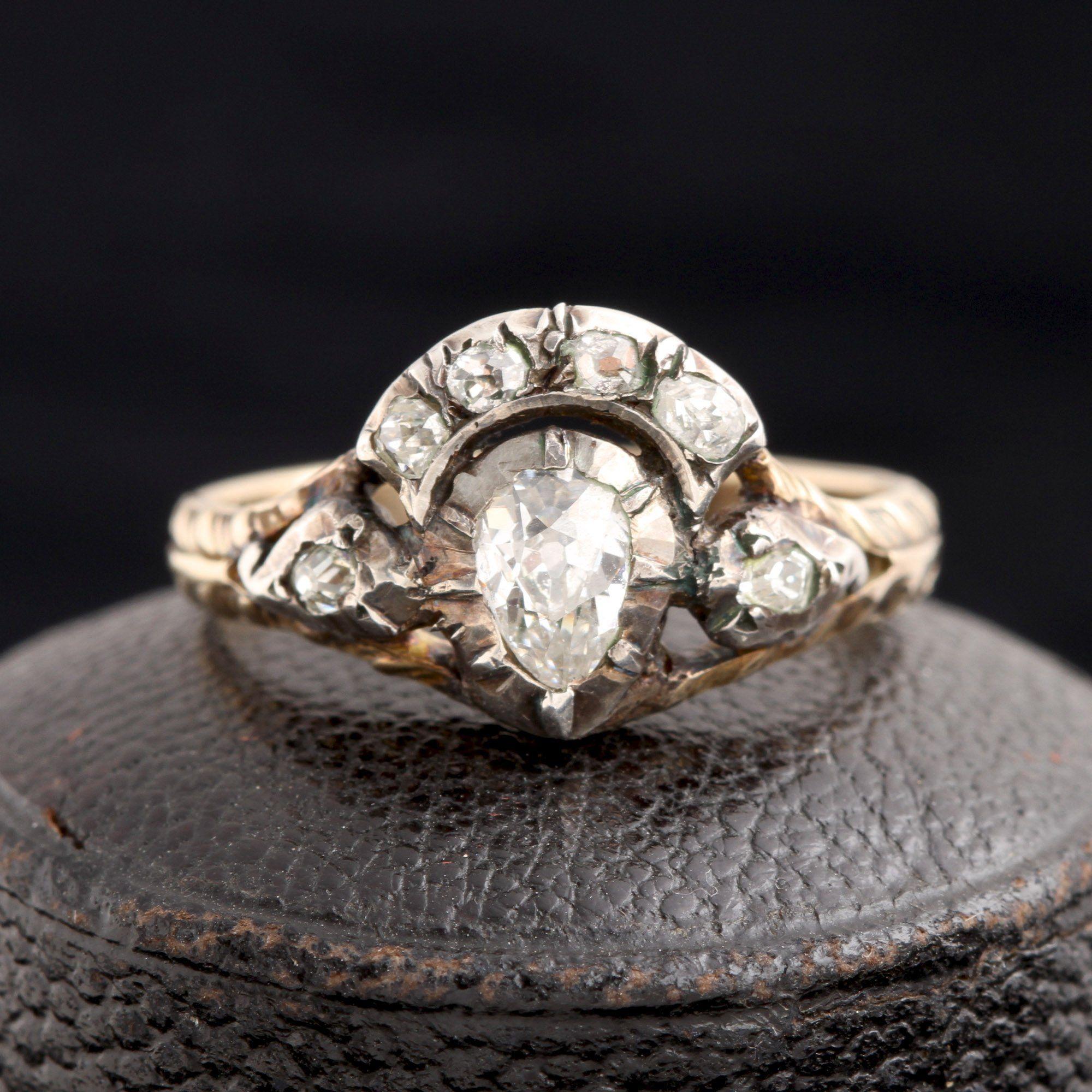 Georgian Old Mine Cut Diamond Crowned Heart Ring
