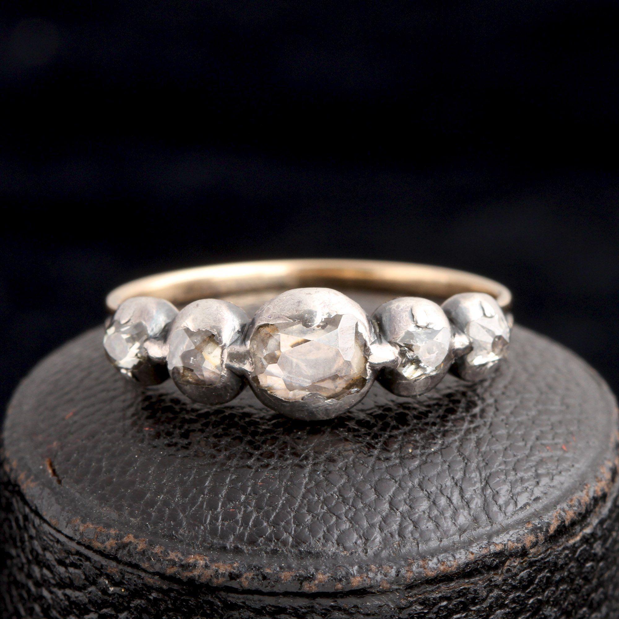 Georgian Old Mine Cut Diamond Half Hoop