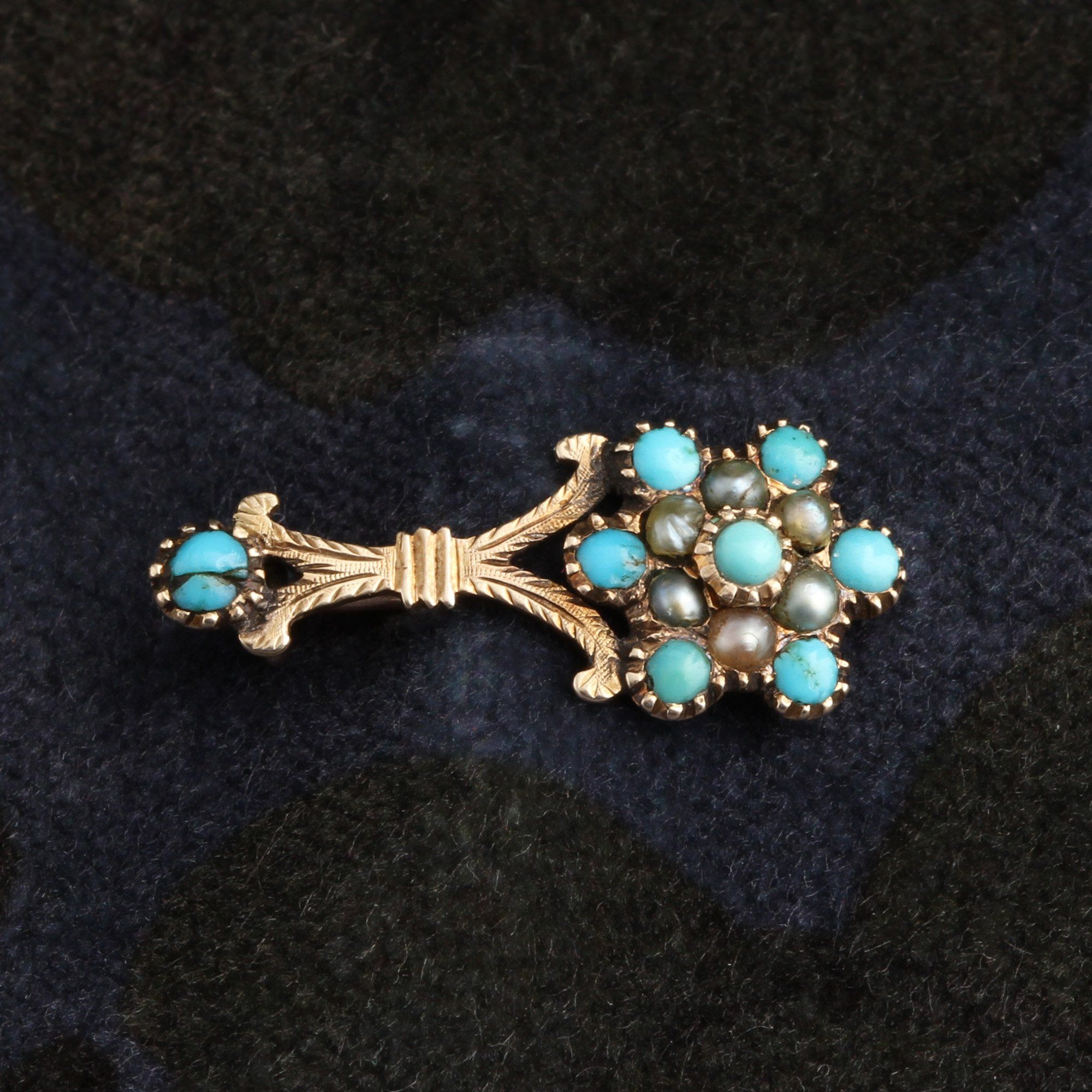 Front detail of Georgian Turquoise and Pearl Halley's Comet Brooch