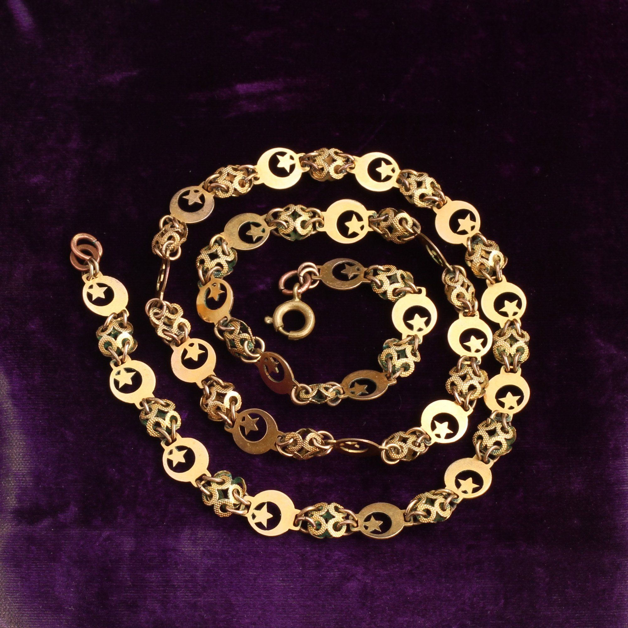 Early Victorian Pinchbeck Moon and Star Chain