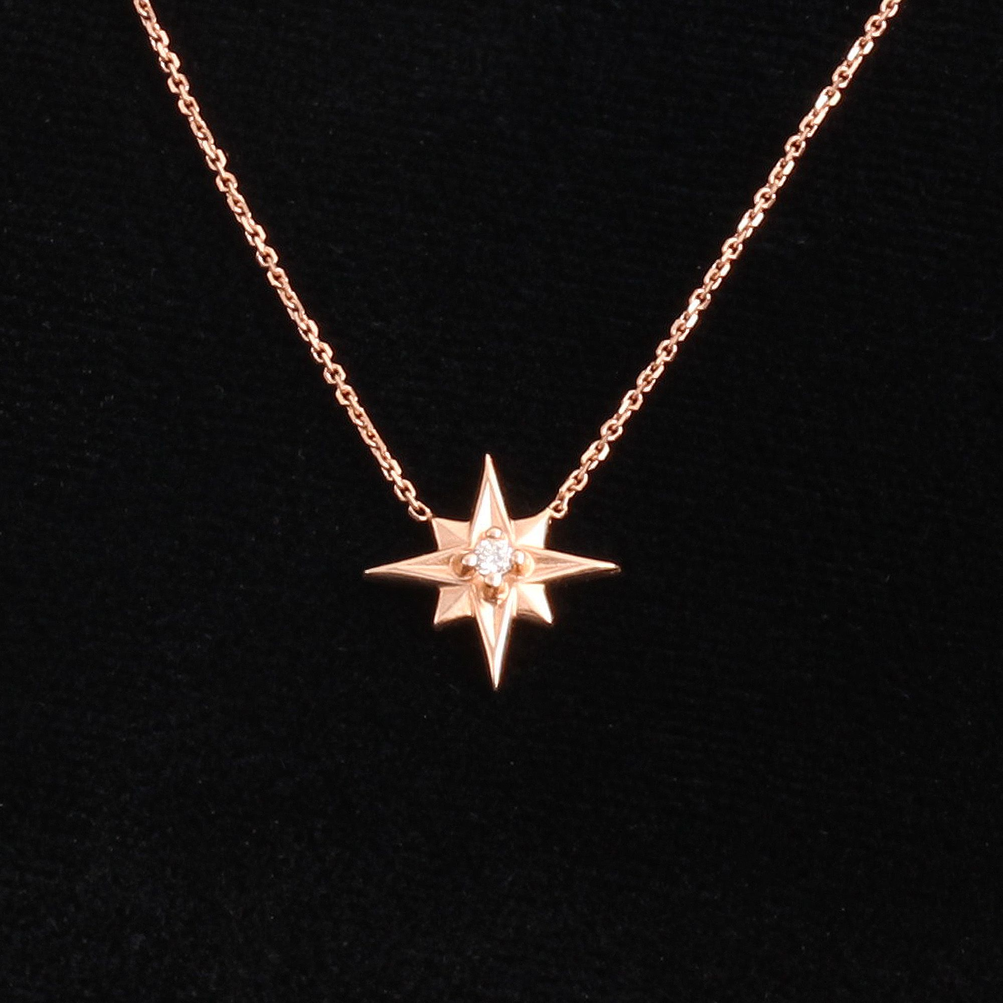 Compass Rose Necklace (14k Rose Gold)