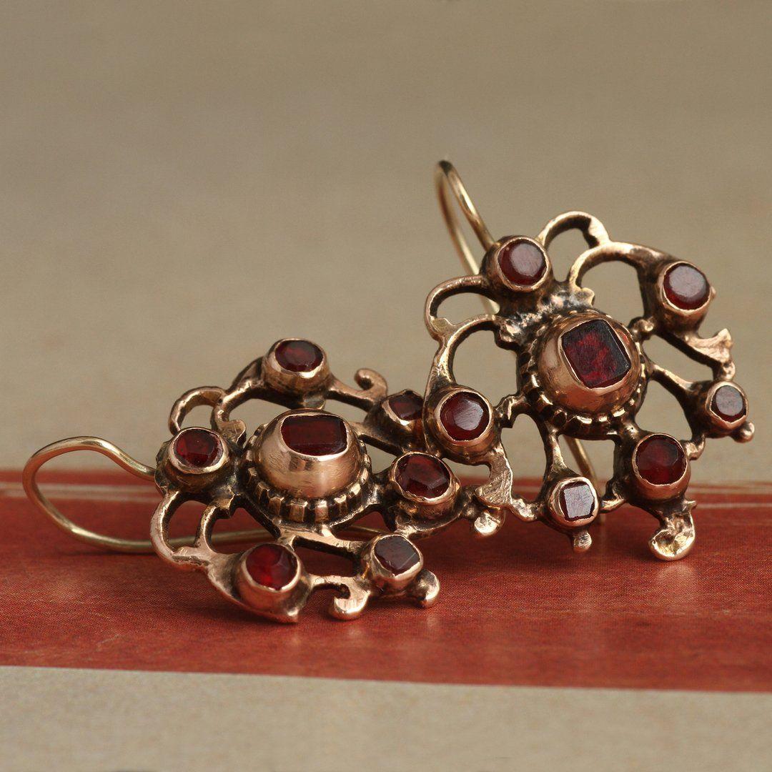 Detail of Georgian Gilt Silver Garnet Earrings