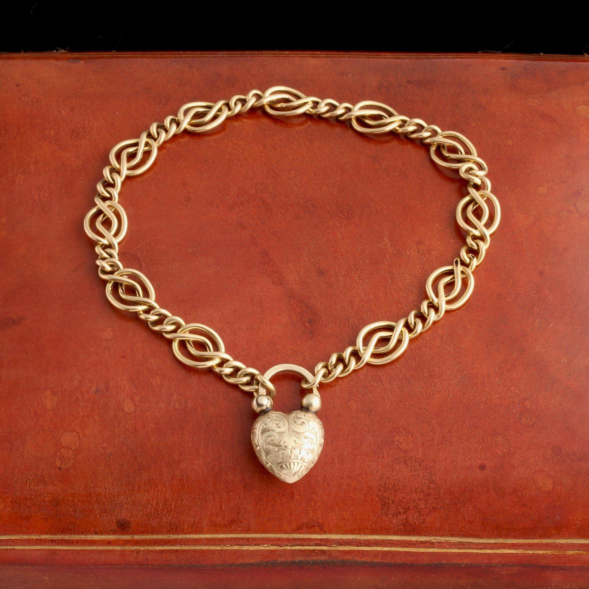 Victorian Heart Padlock Chain Bracelet