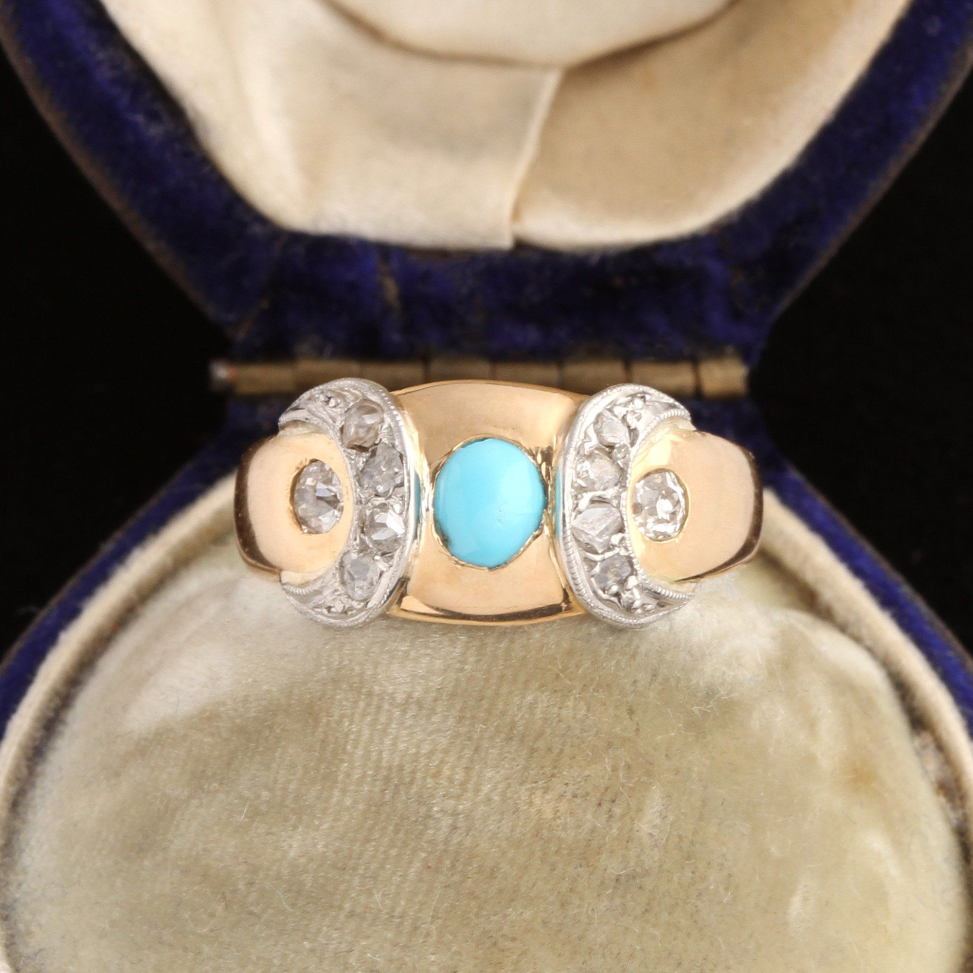 Victorian Turquoise & Diamond Crescents Ring