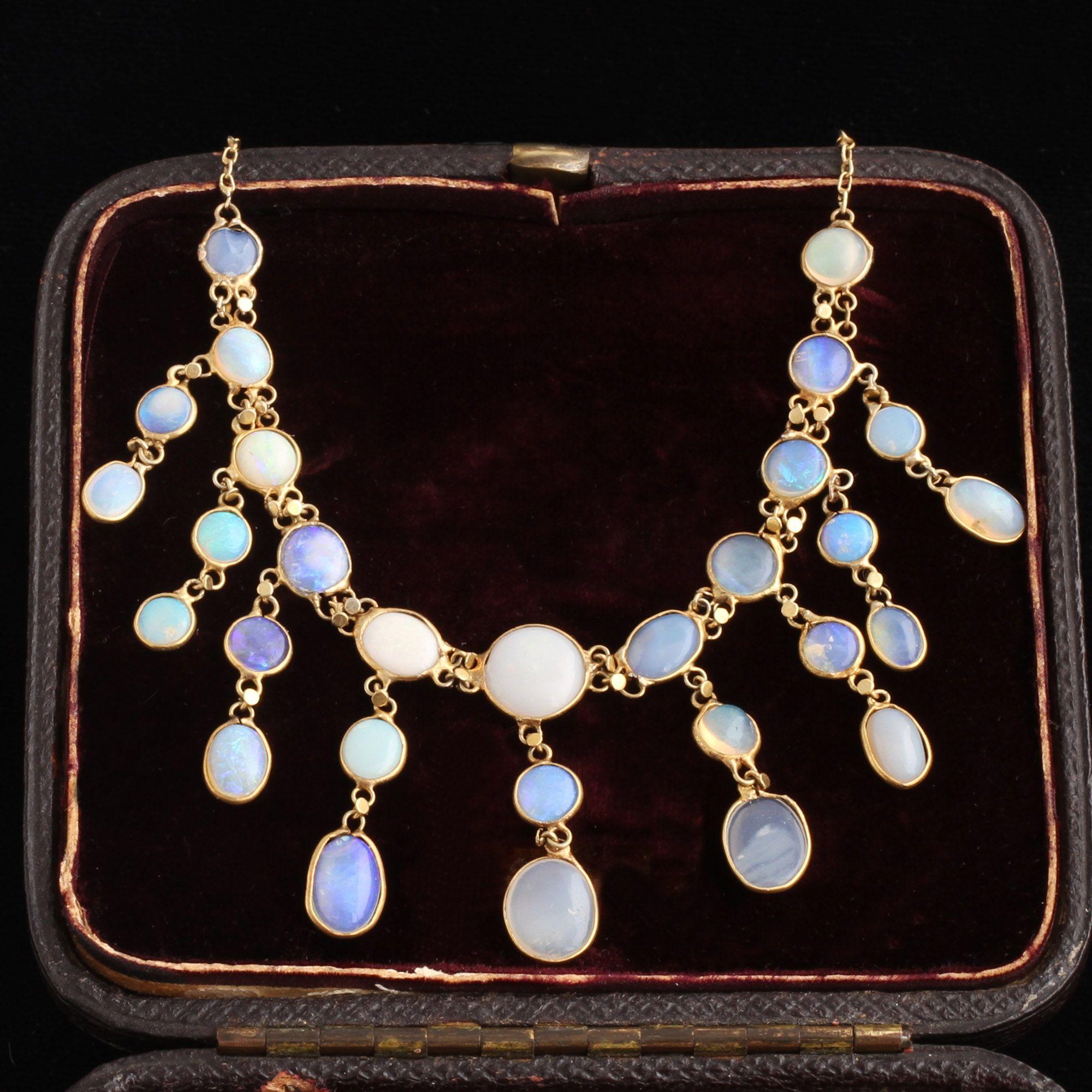 Edwardian Opal Fringe Necklace