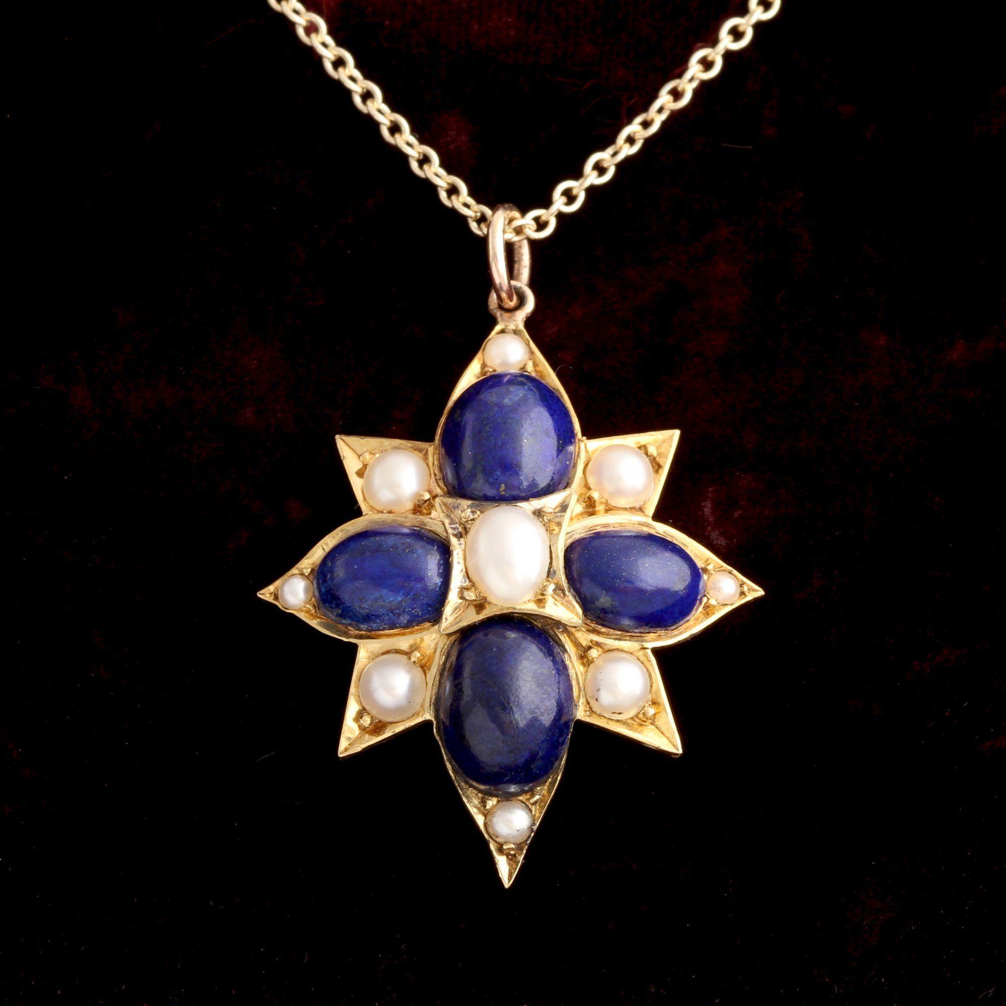 Victorian Lapis & Pearl Starburst Pendant