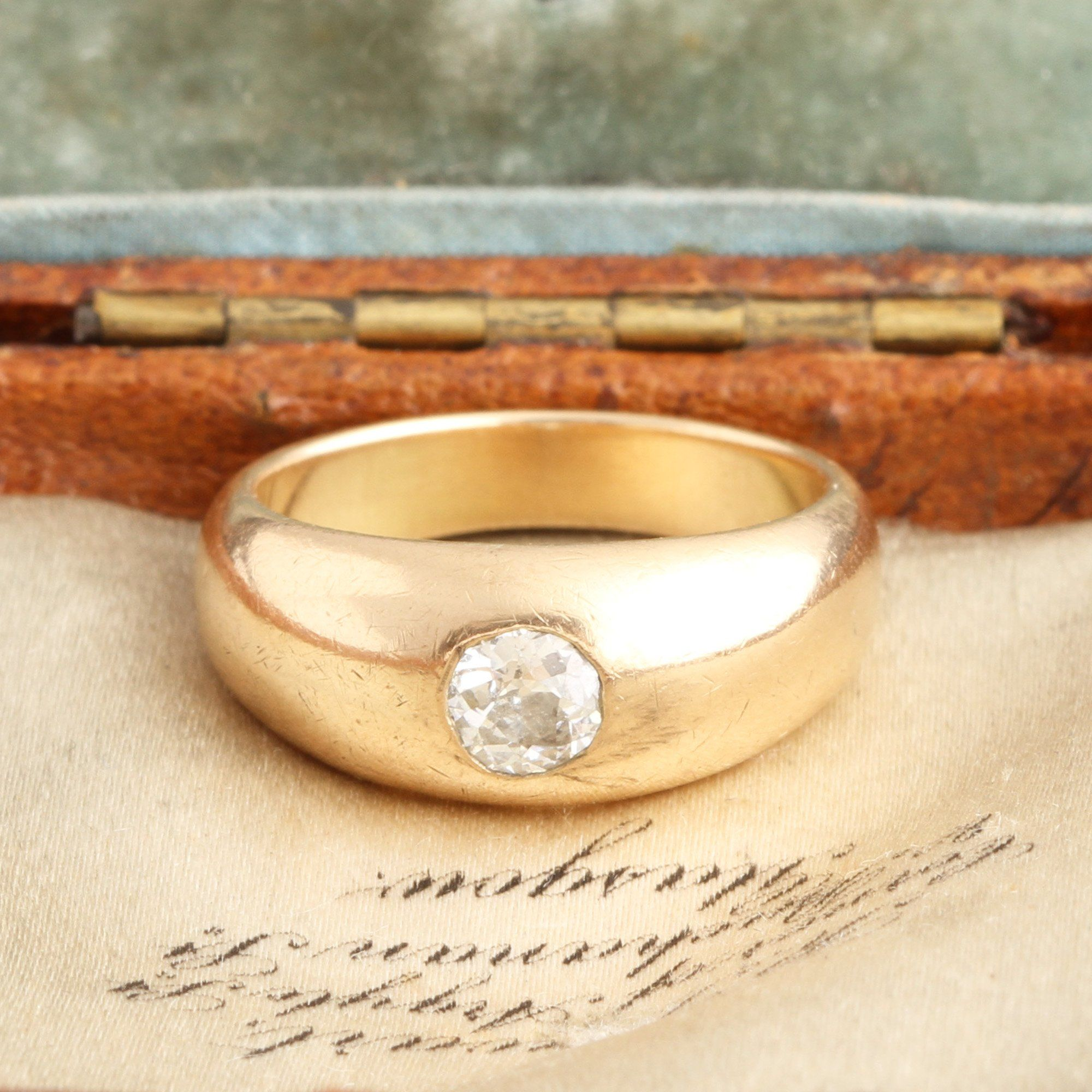 Victorian Burnished Old Mine Cut Diamond Solitaire