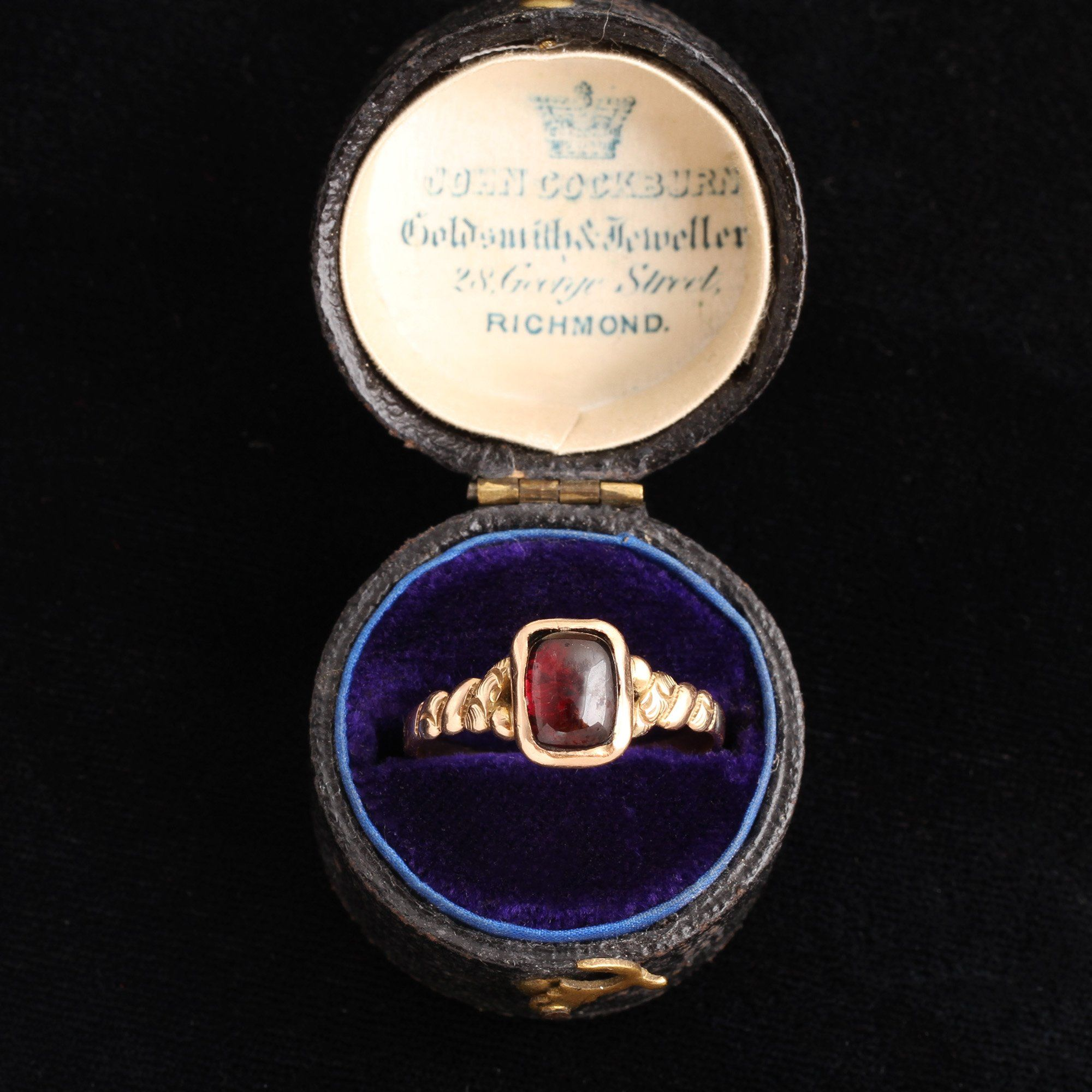 Victorian Garnet Ring with Twisted Shoulders