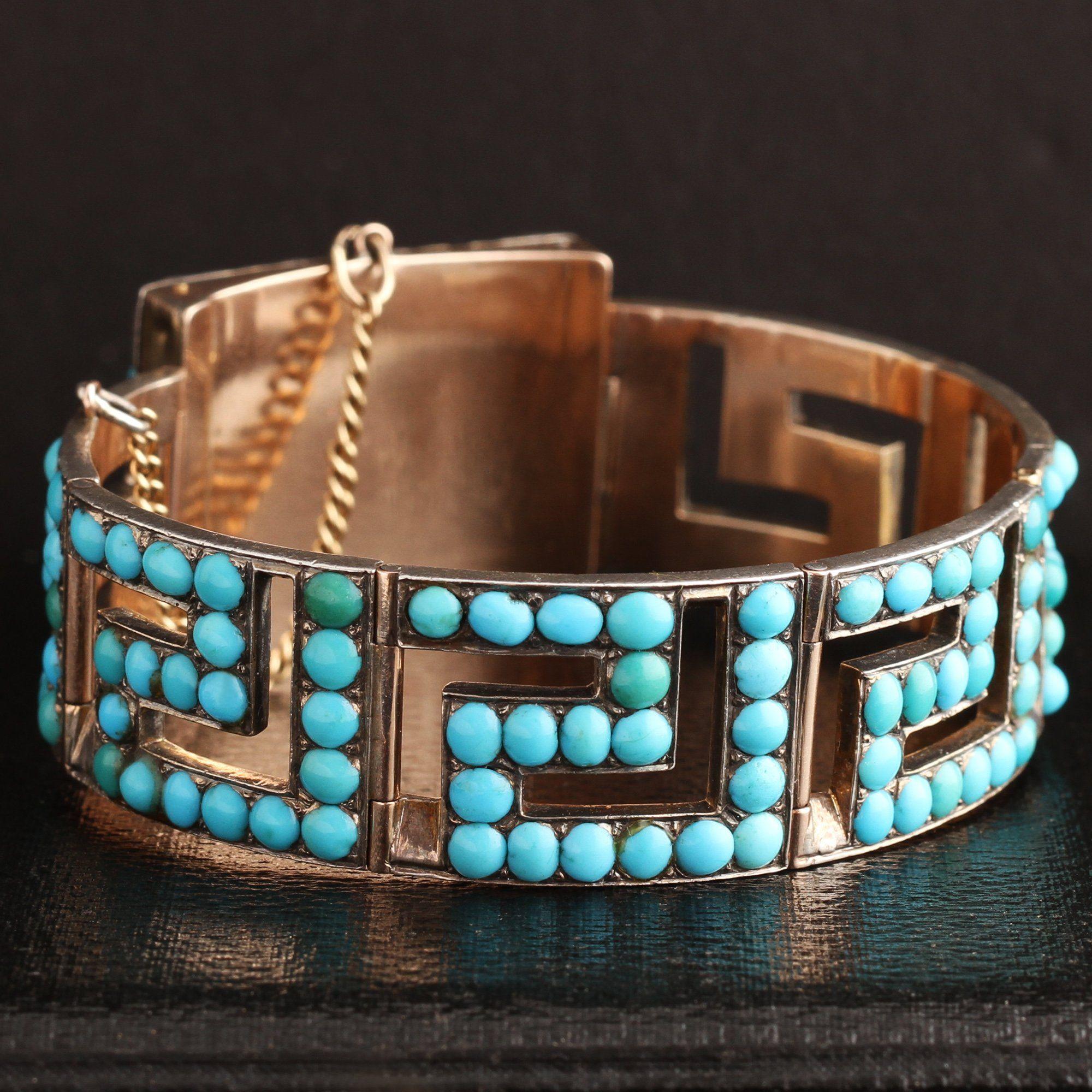 Victorian Rose Gold and Turquoise Greek Key Bracelet