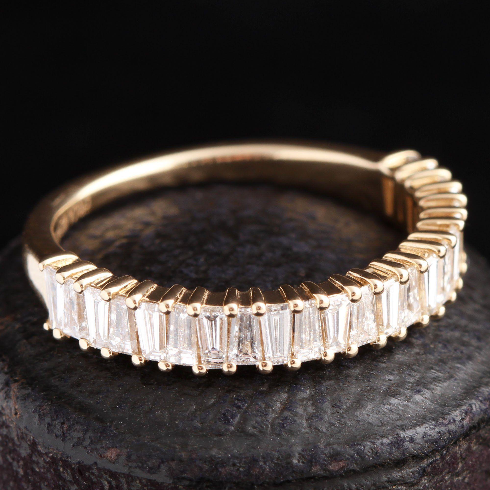 Tapered Diamond Baguette Half Eternity Ring