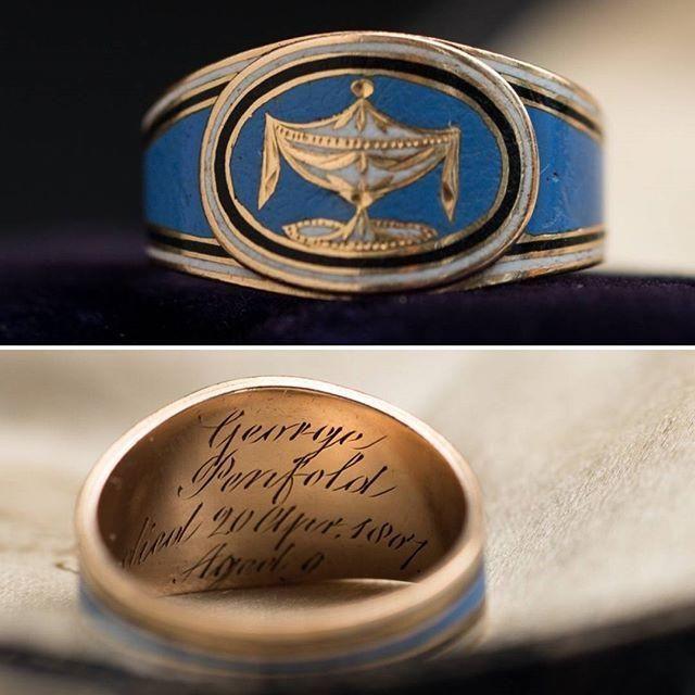 Georgian Blue Enamel Mourning Ring for George Penfold