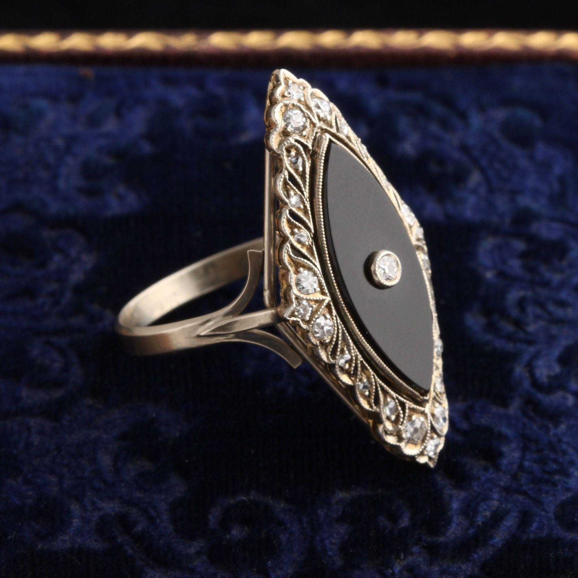 Art Deco Onyx & Diamond Navette Ring