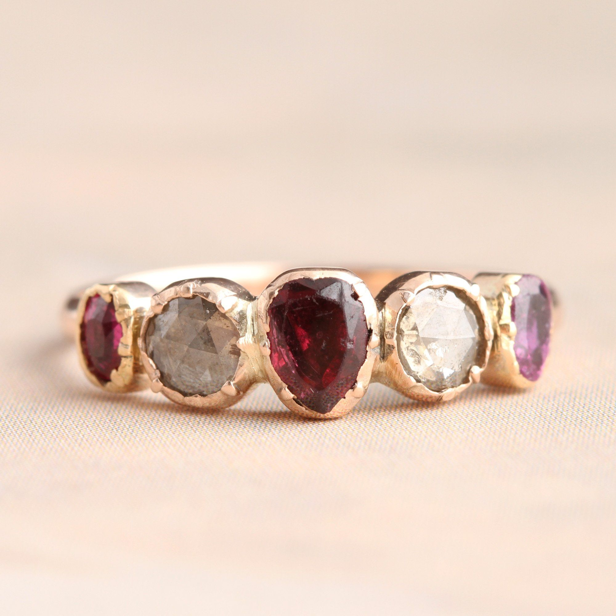 Georgian Five Stone Ring with Amethyst, Garnet and Ruby Hearts and Rose Cut Diamonds