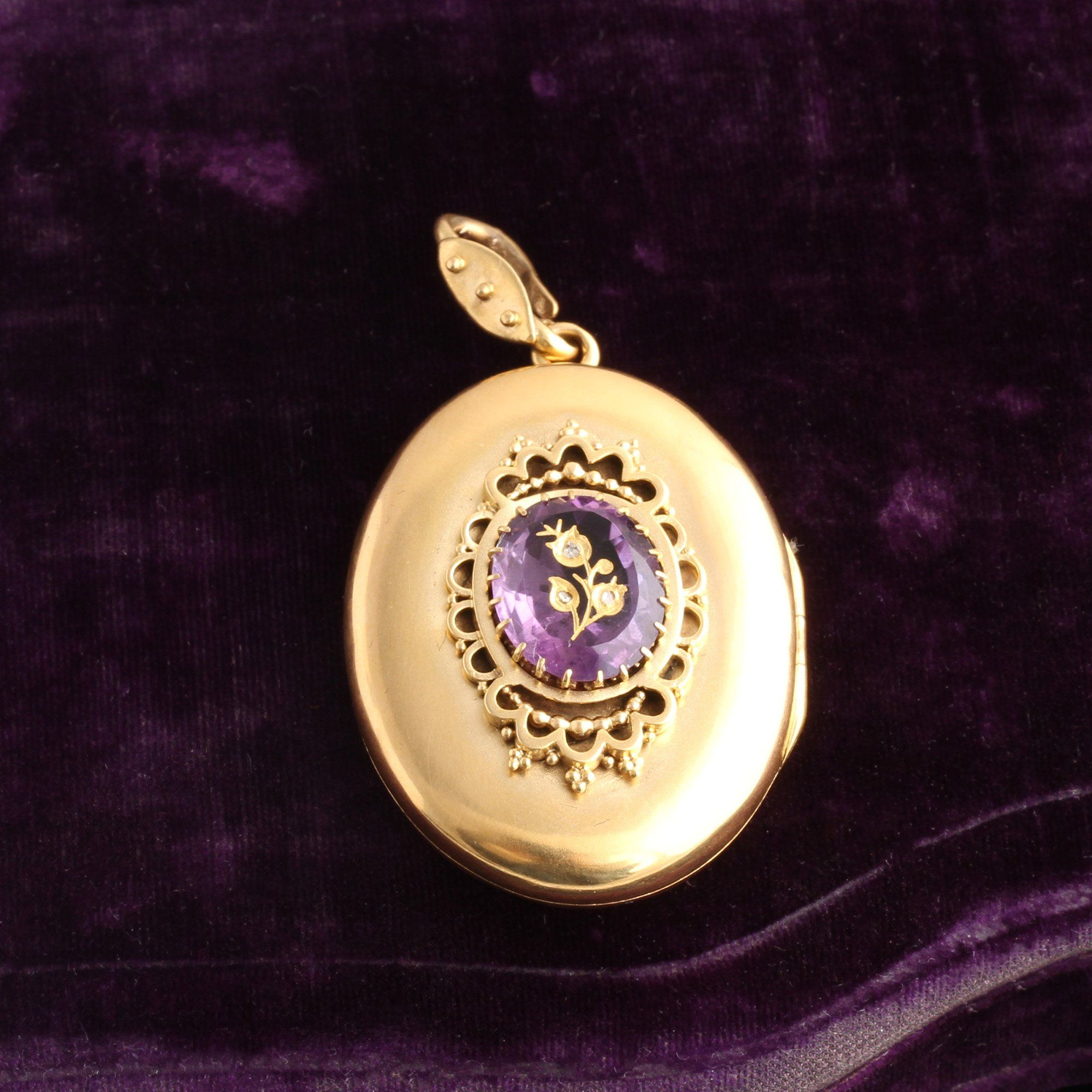 Victorian Amethyst with Flower Inlay Gold Locket