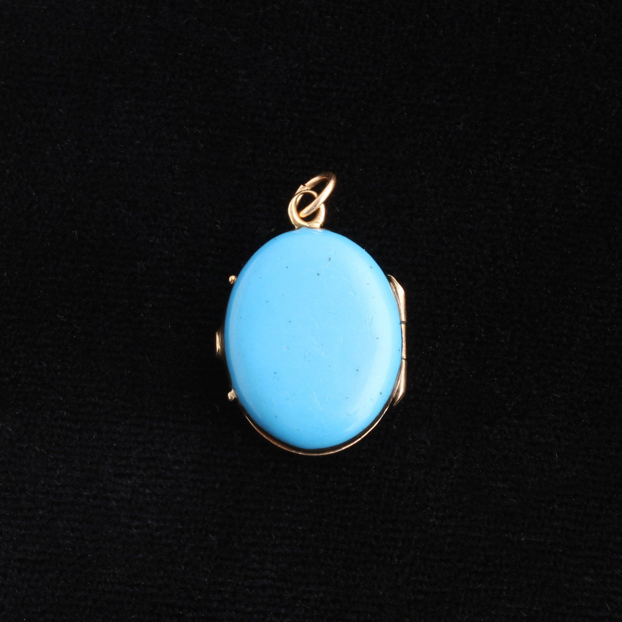 Victorian Blue Enamel and Pearl Locket