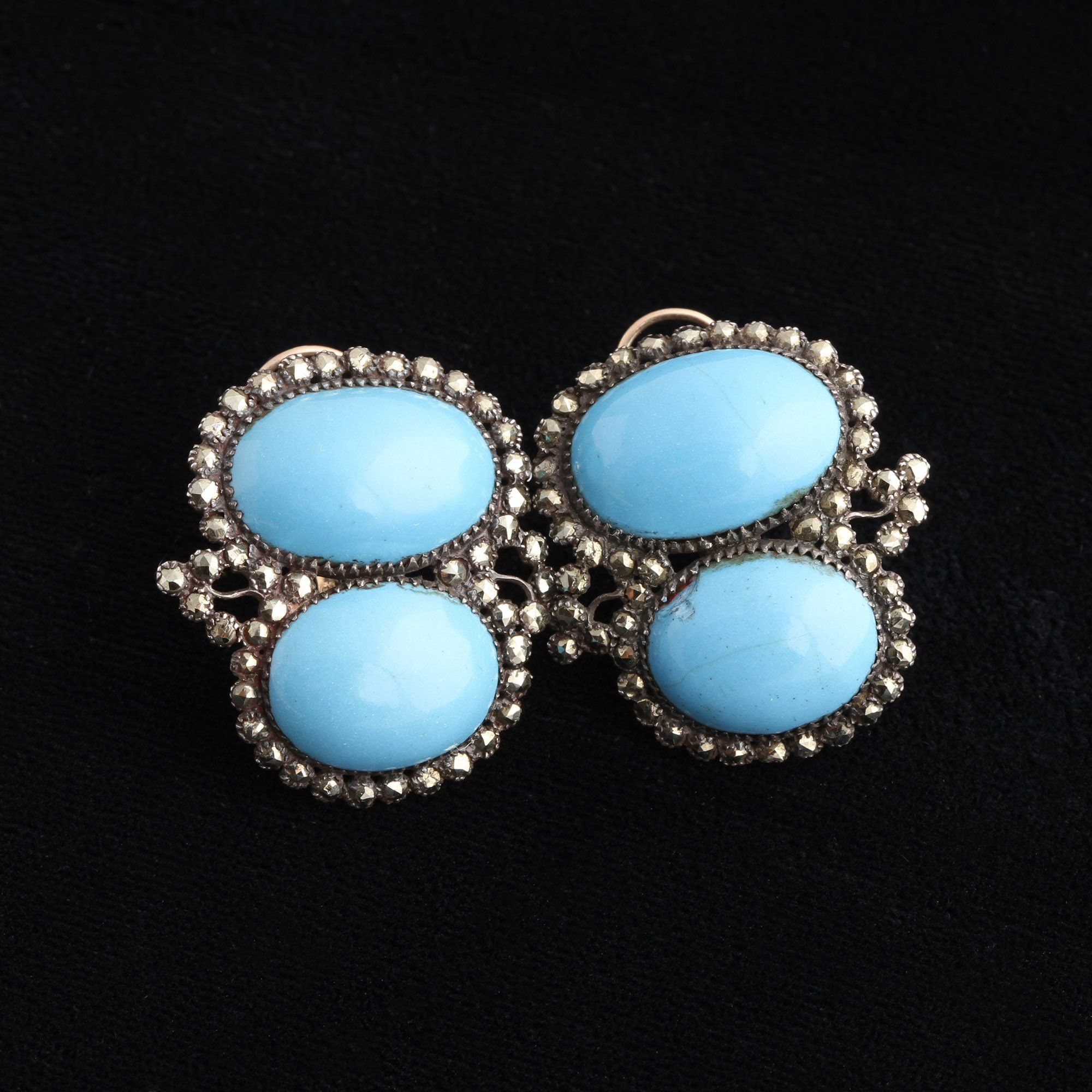 Queen Anne Turquoise Paste & Pyrite Earrings