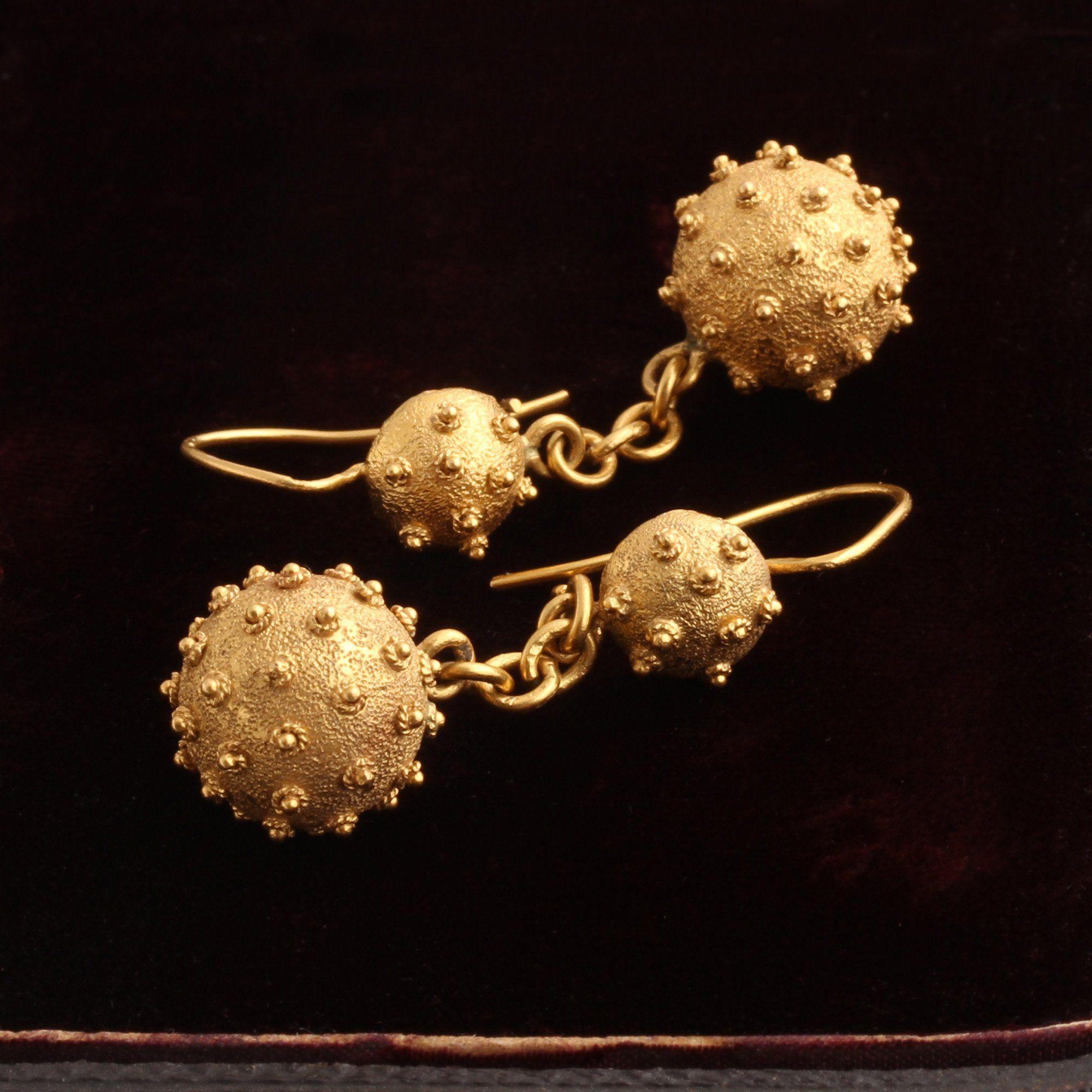 Victorian Gold Mace Earrings