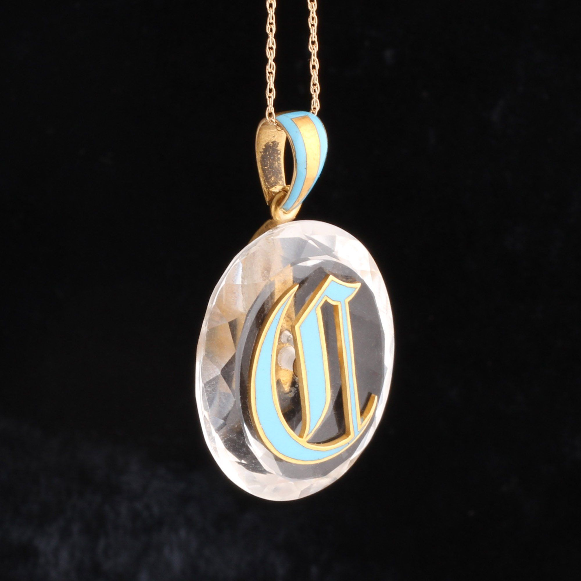 "Victorian Rock Crystal ""C"" Pendant"