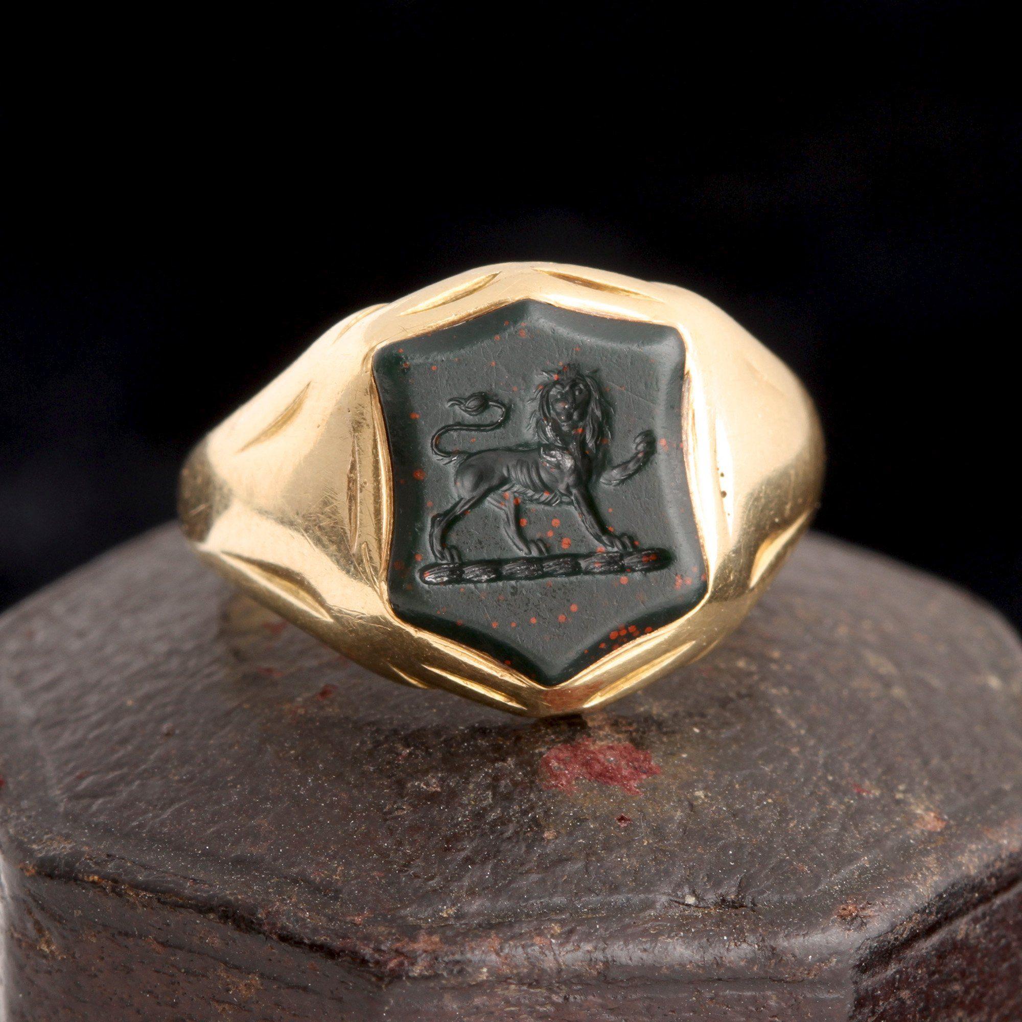 Victorian Lion Passant Signet Ring