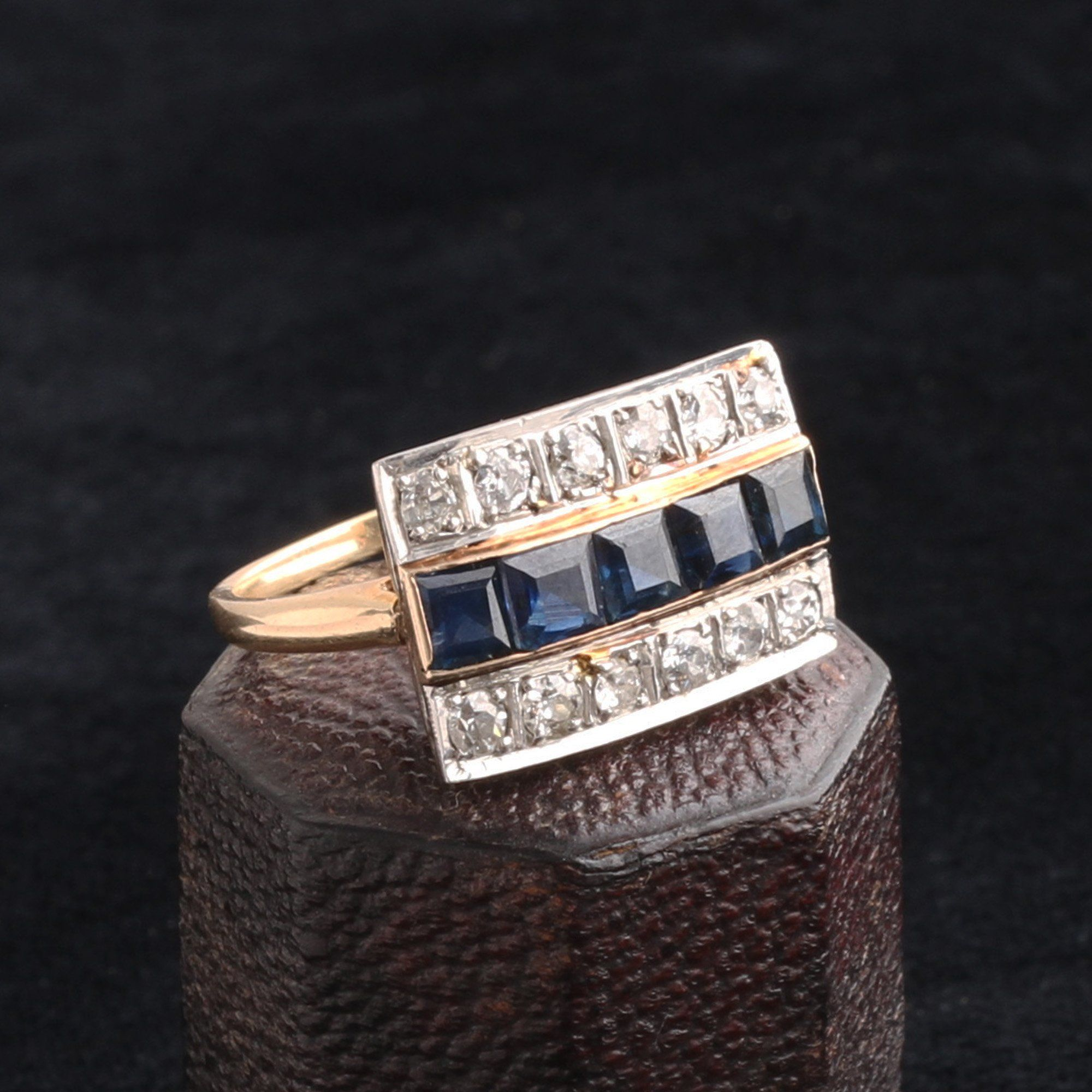 Art Deco Diamond and Sapphire Stripes Ring
