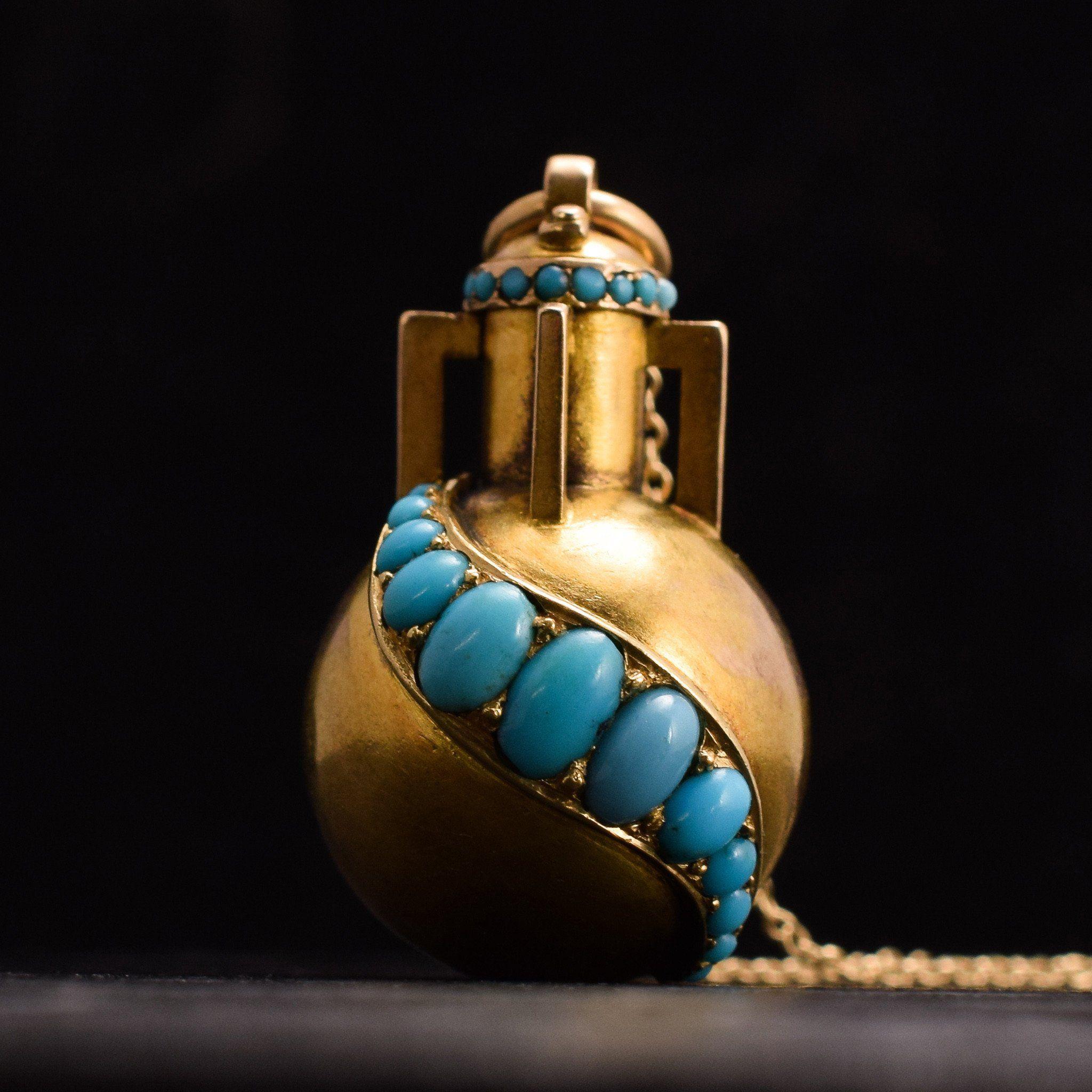 Detail of Victorian Turquoise Amphora Locket