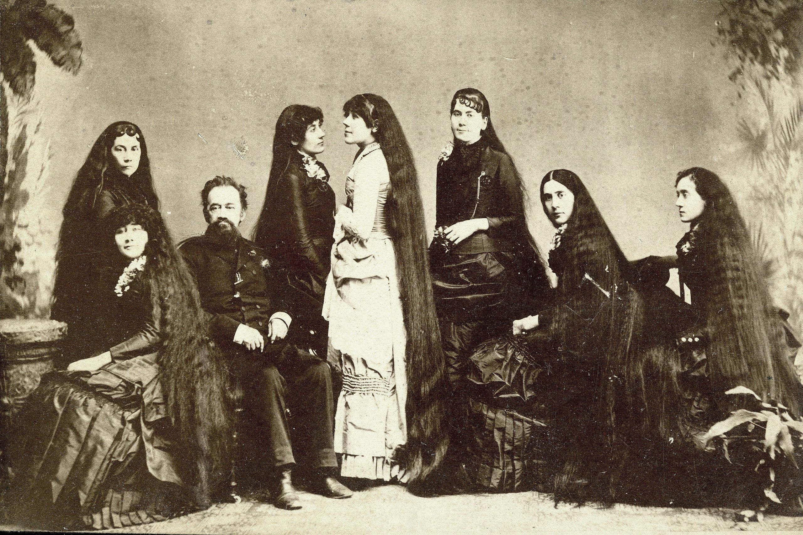 The Seven Sutherland Sisters were a sister act sing group. They performed with Barnum and Bailey's from the early 1880s to the 1900s. Their father capitalized on the public's fascination with their hair by creating a line of hair care products.