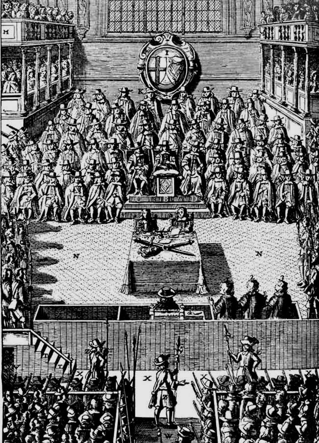 Engraving of Parliament in the time of King Charles I.