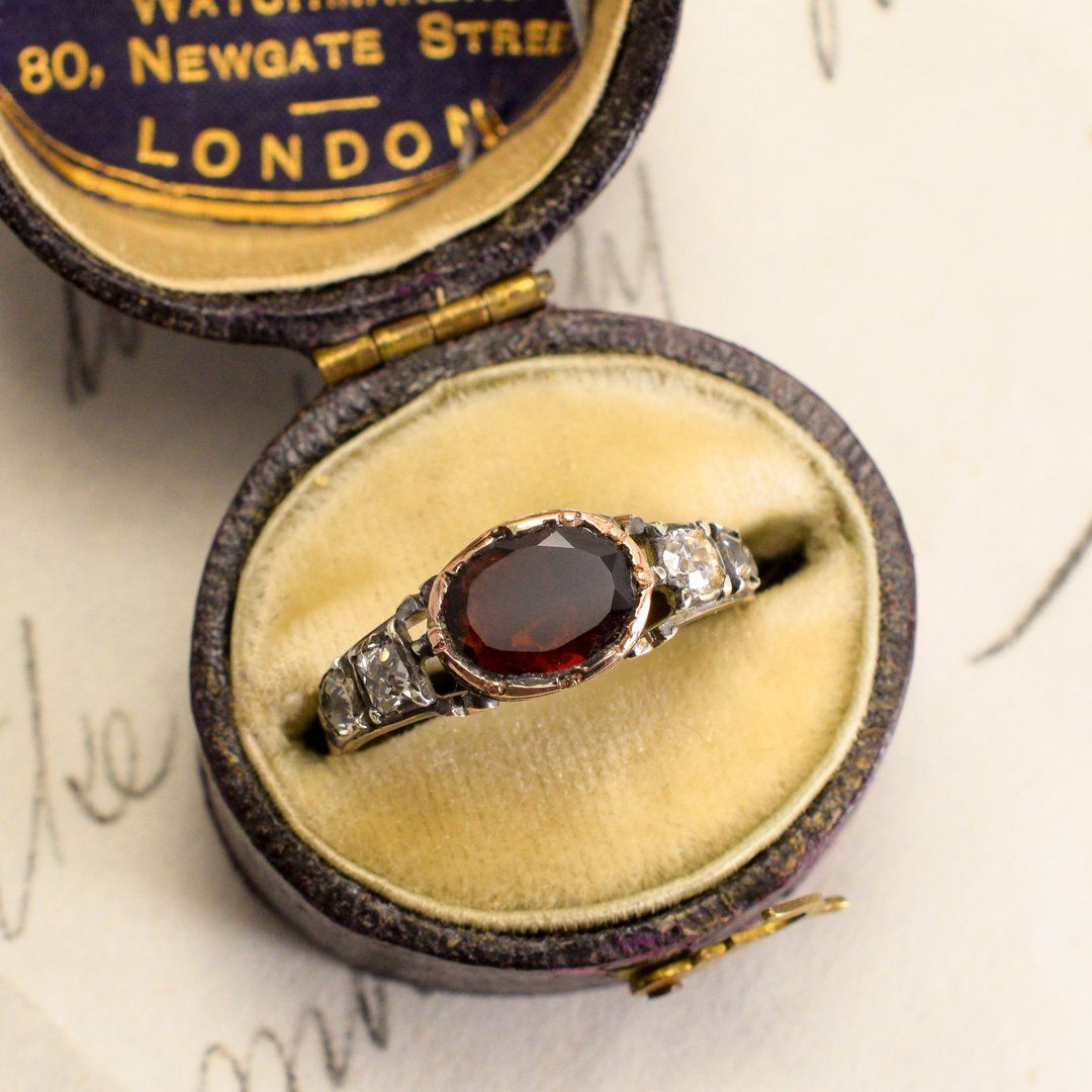 Georgian Garnet and Old Mine Cut Diamond Ring