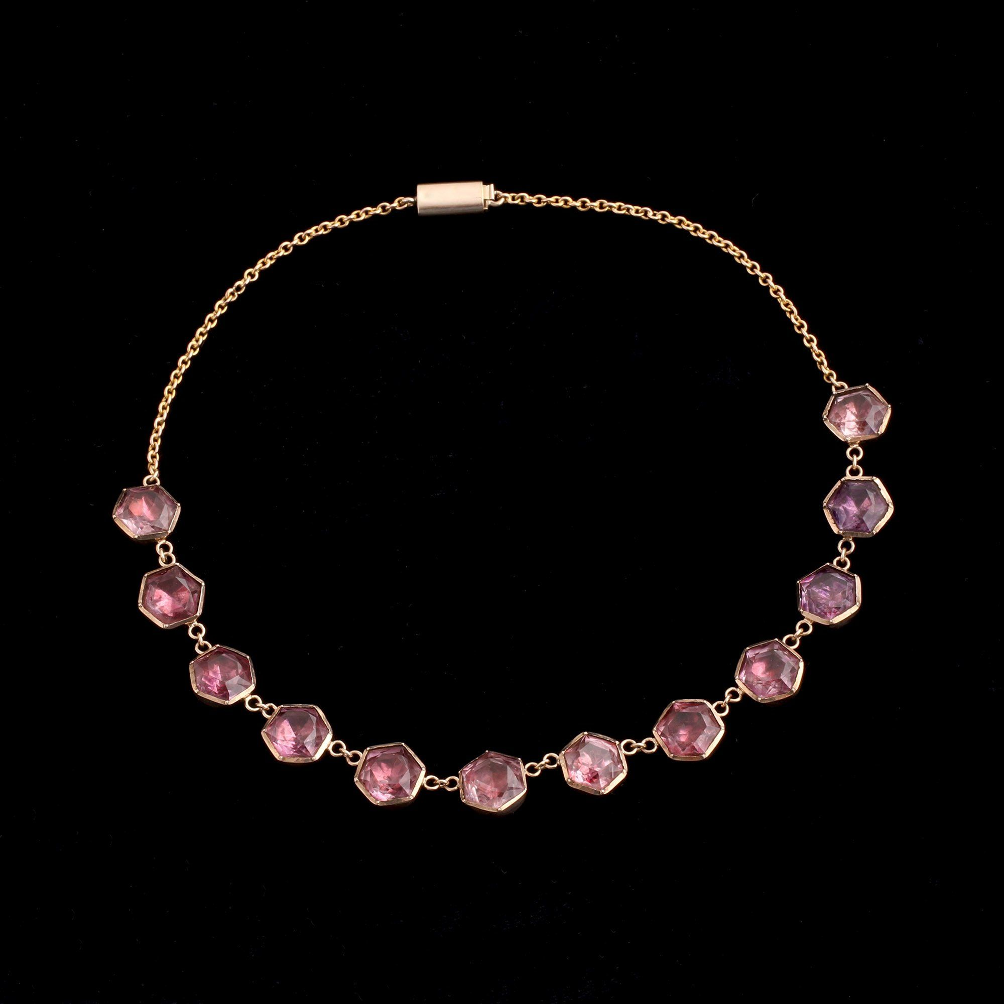 Early Victorian Amethyst Hexagons Necklace