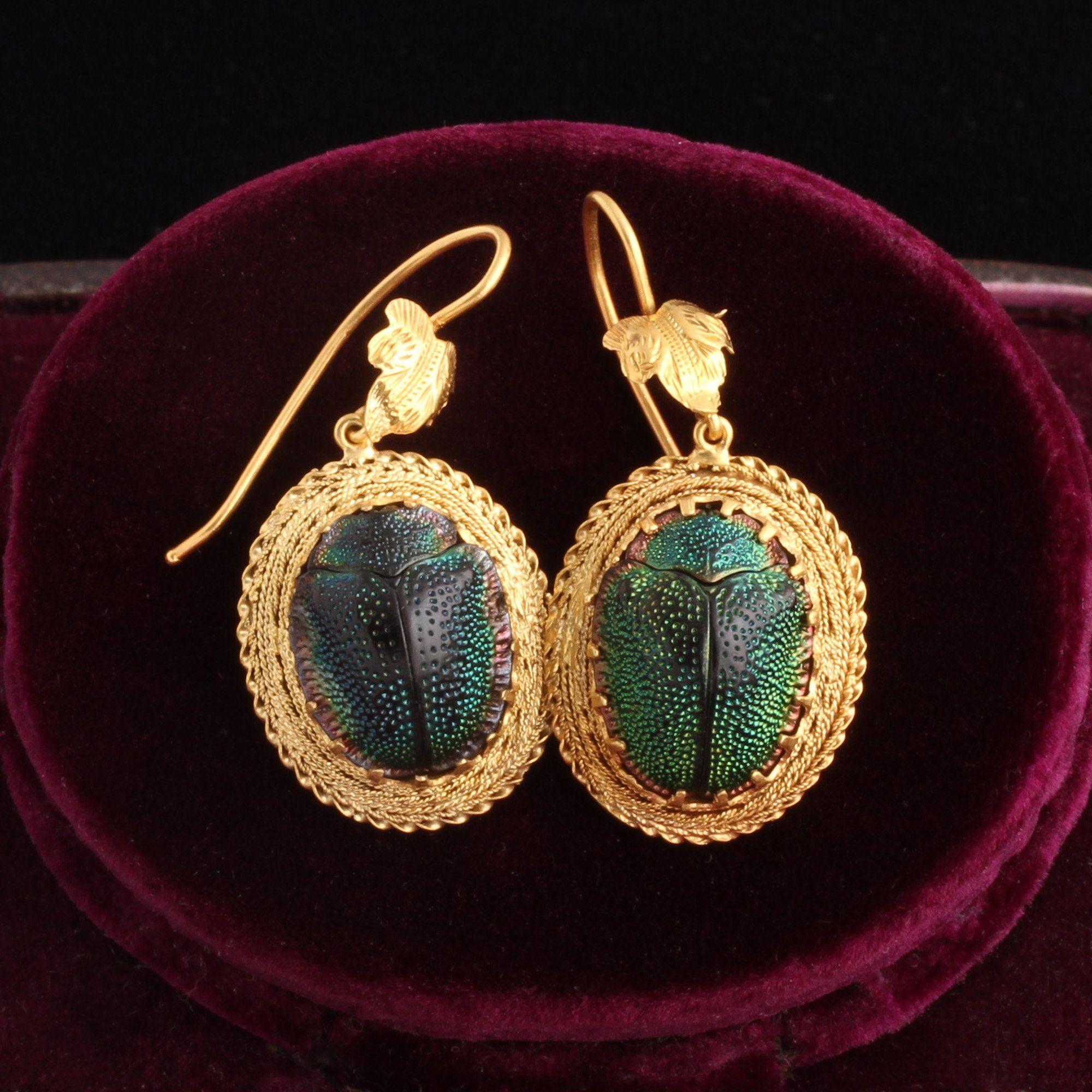 Victorian Scarab Beetle Earrings