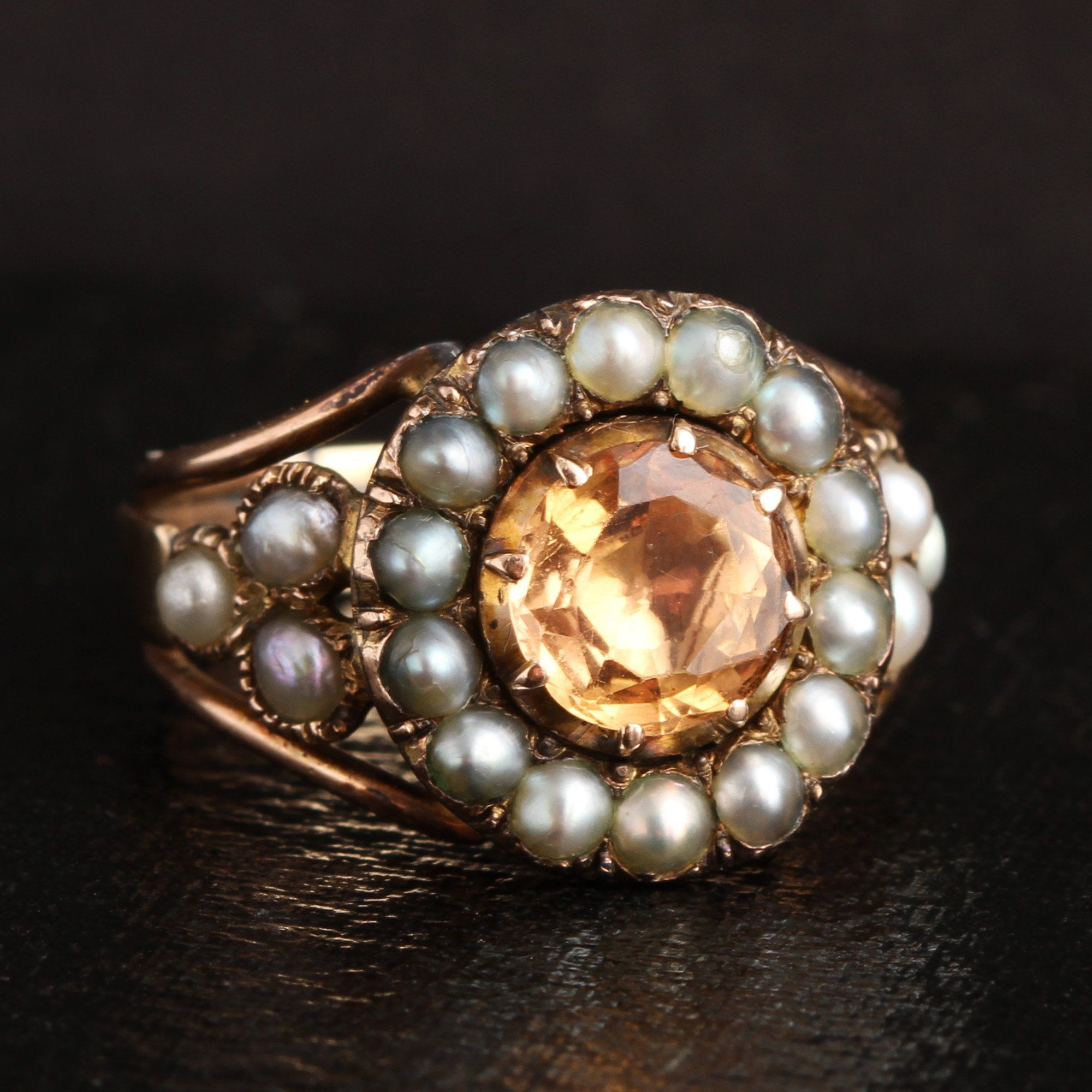 Georgian Topaz and Seed Pearl Cluster Ring