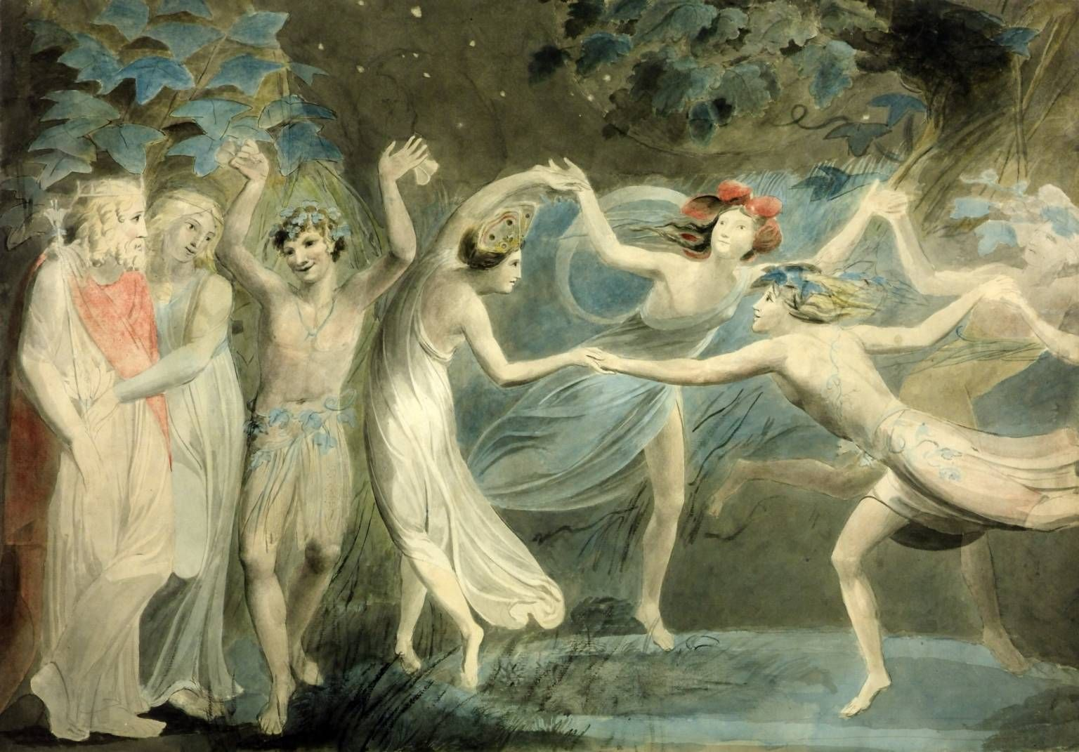 "A painting of ""Oberon, Titania and Puck with Fairies Dancing"" by William Blake, c. 1786"