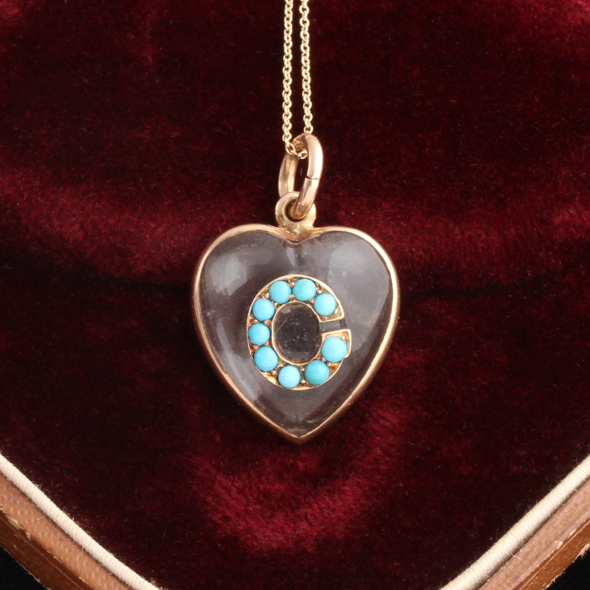 "Victorian Turquoise ""C"" Heart Locket"