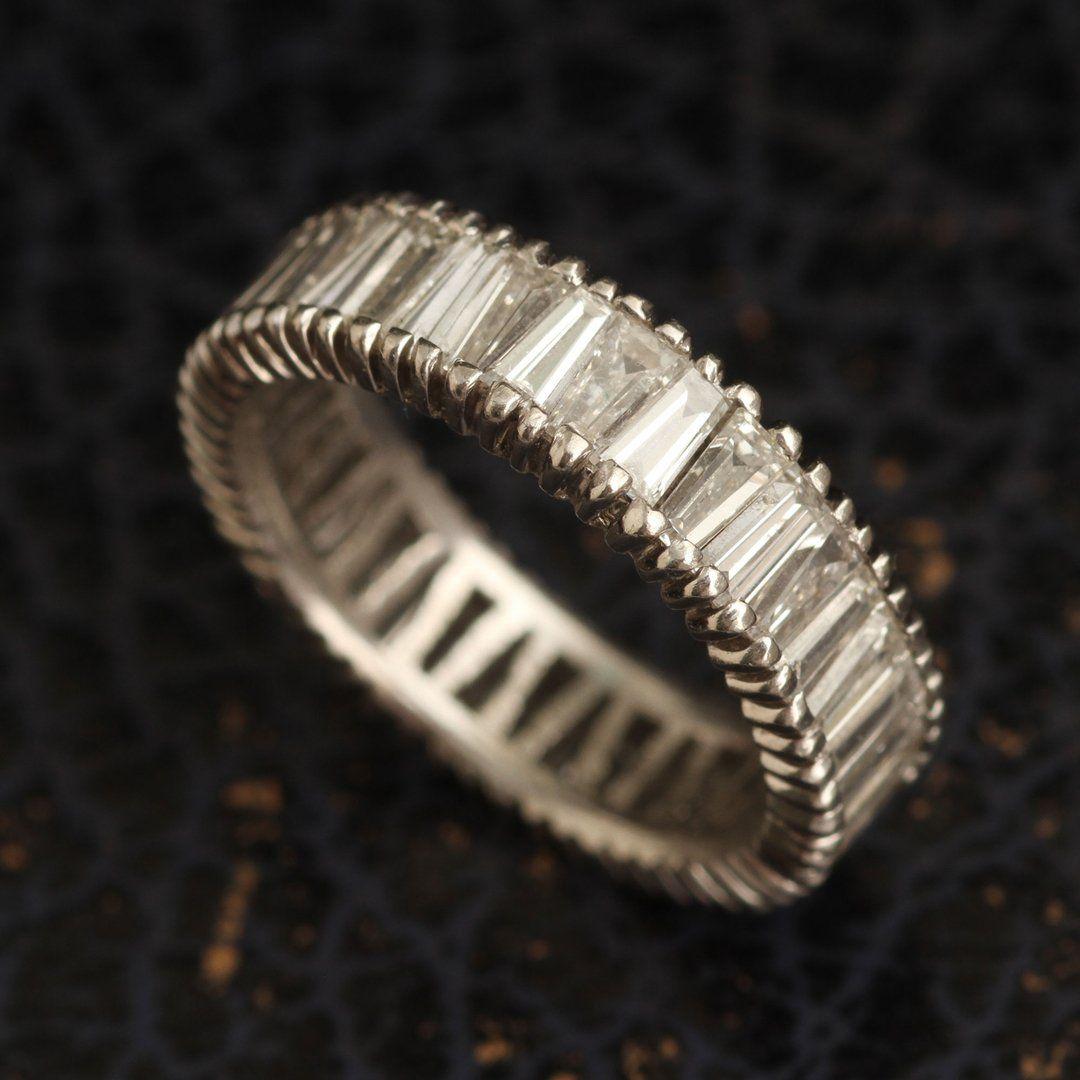 Vintage Platinum Tapered Baguette Eternity Ring