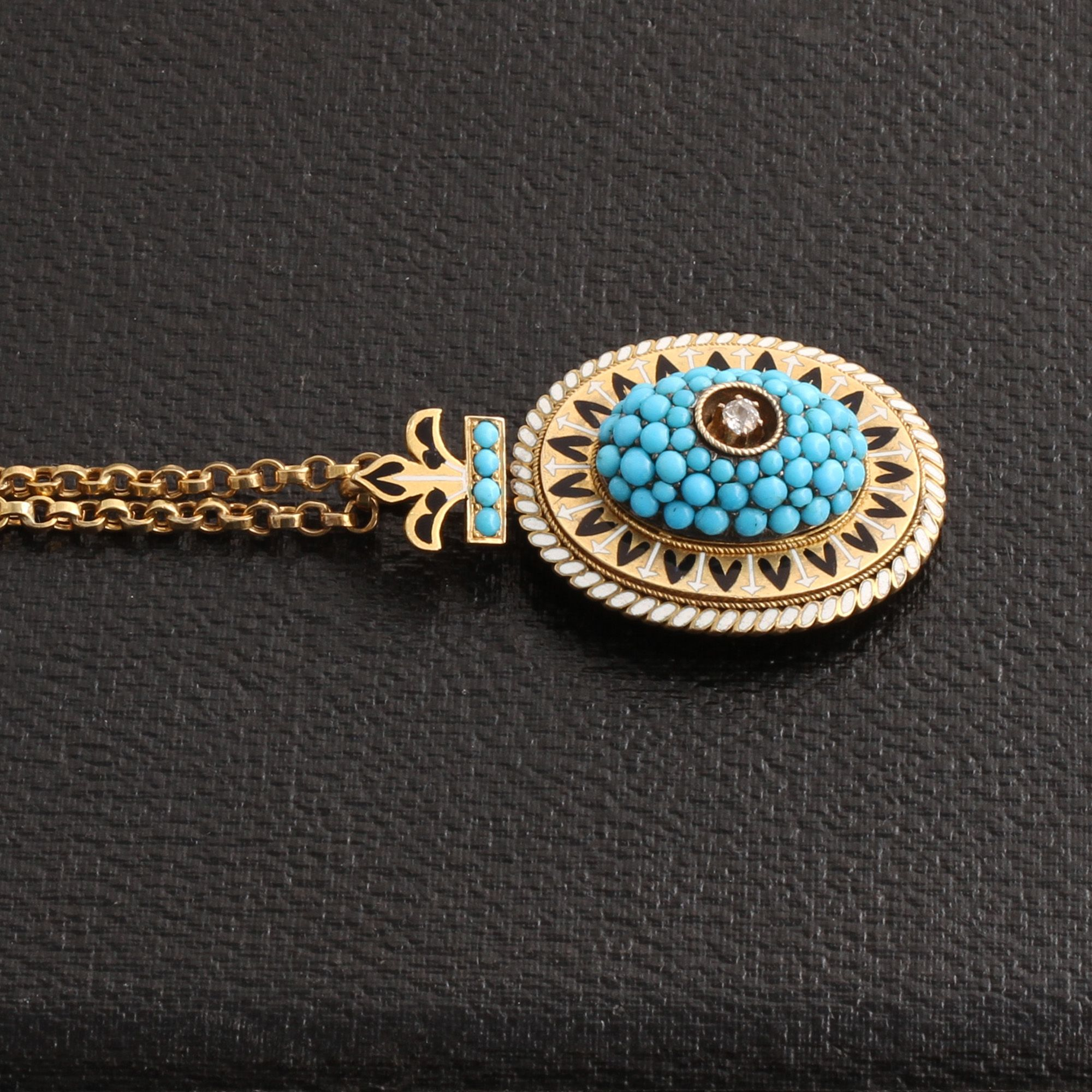 Victorian Fleur de Lis Turquoise, Enamel, and Diamond Locket Necklace detail