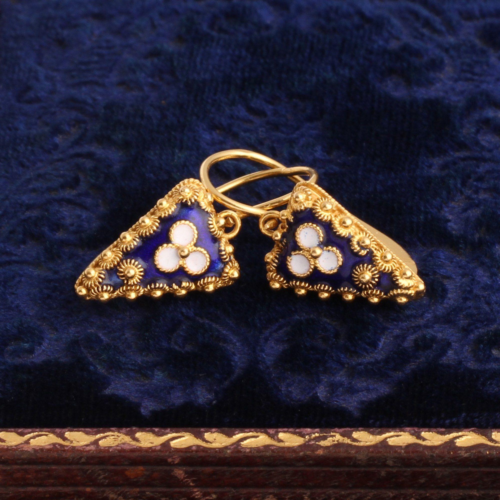Vintage Portuguese Cannetille & Enamel Earrings