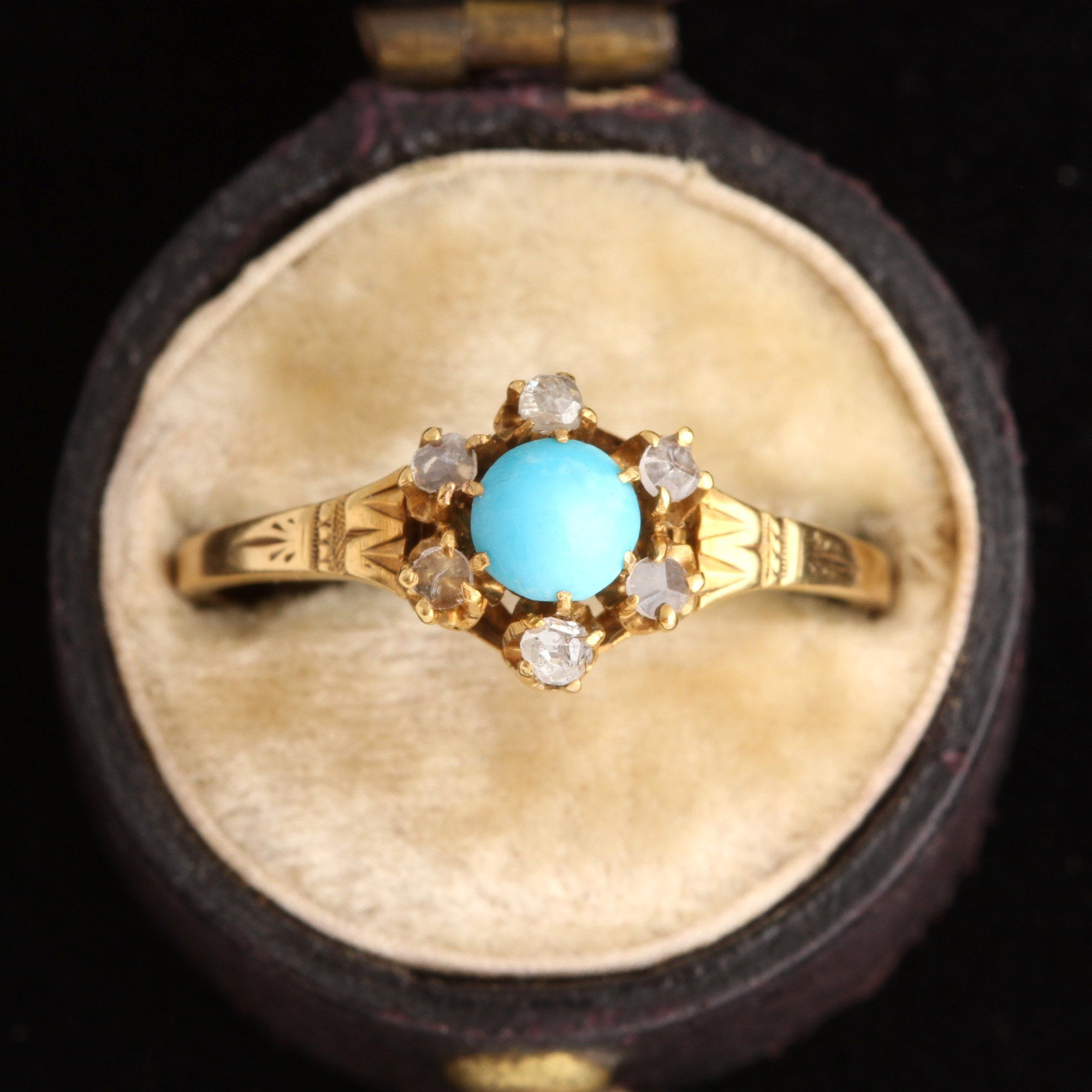 Victorian Turquoise & Rose Cut Diamond Cluster Ring