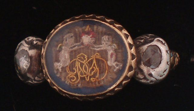 Stuart Crystal Ring with hair, cupids and cypher, c. 1680