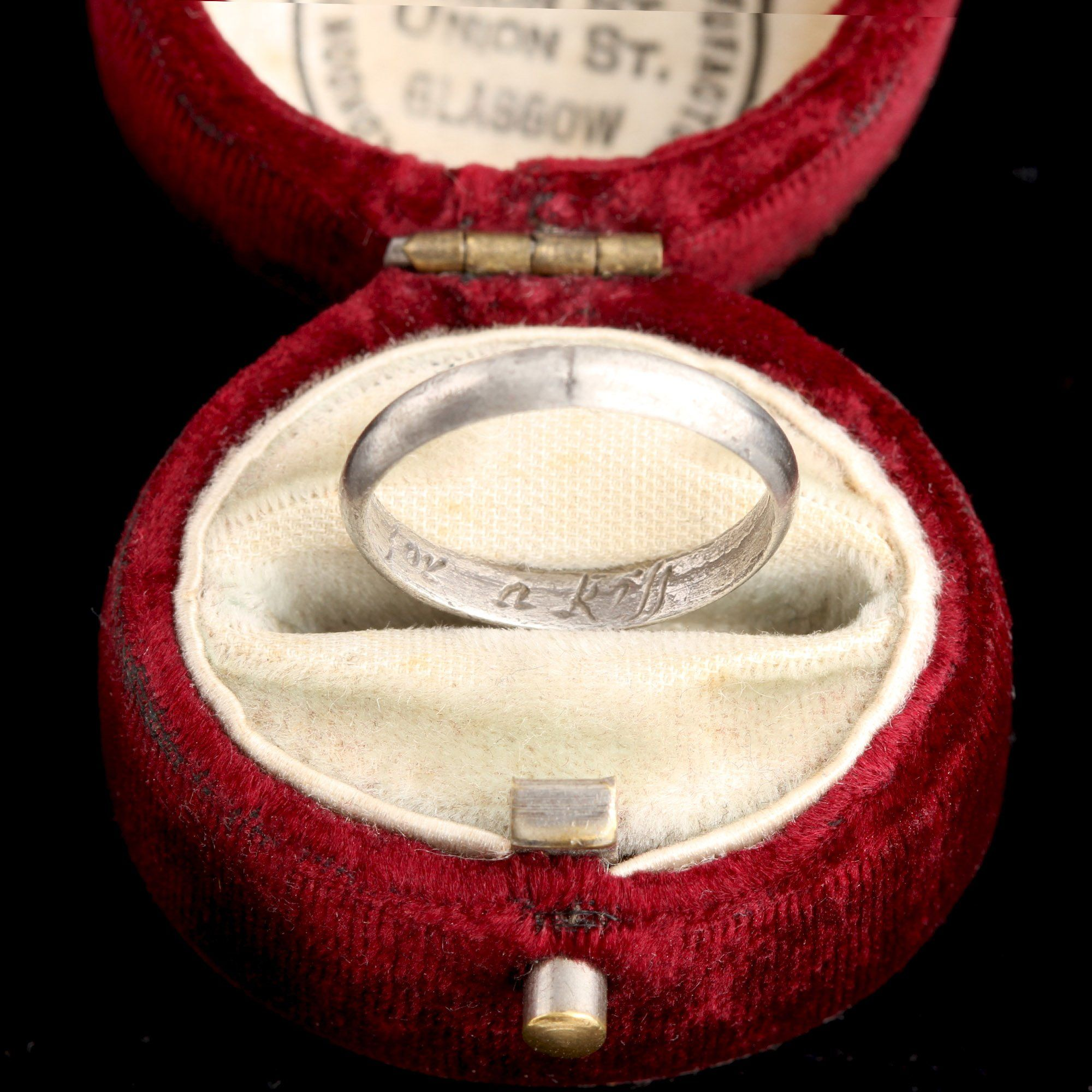 """Early 18th Century """"This For A Kiss"""" Silver Posy Ring"""