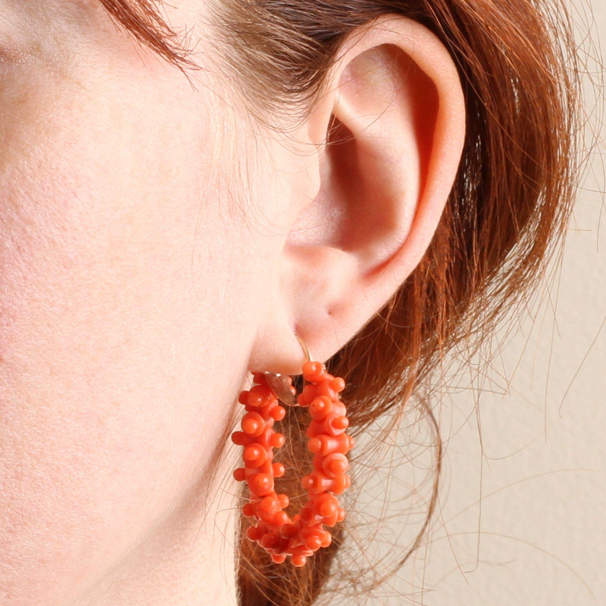 Georgian Grand Tour Coral Hoop Earrings