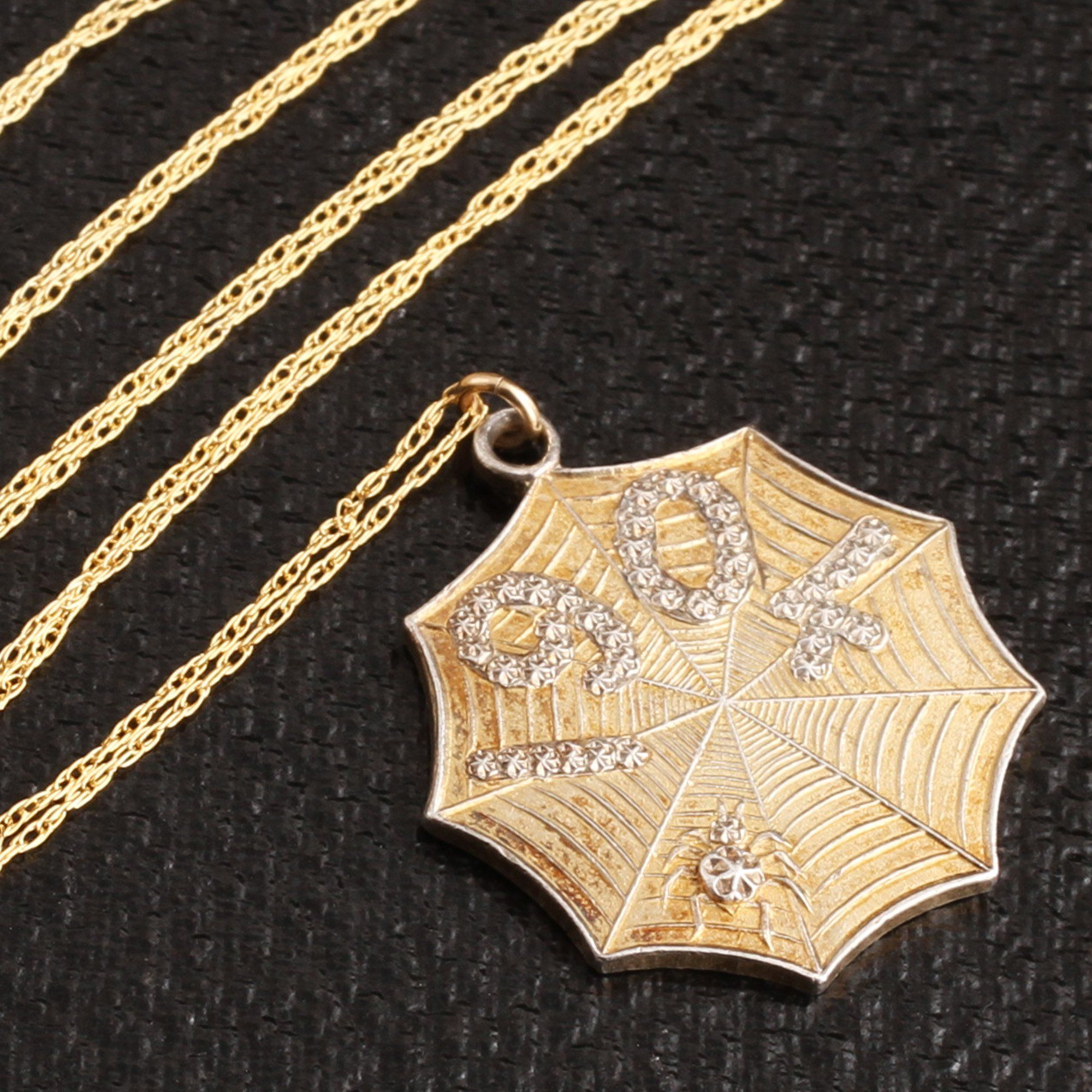 Detail of 1904 Gilt Silver Spiderweb Necklace