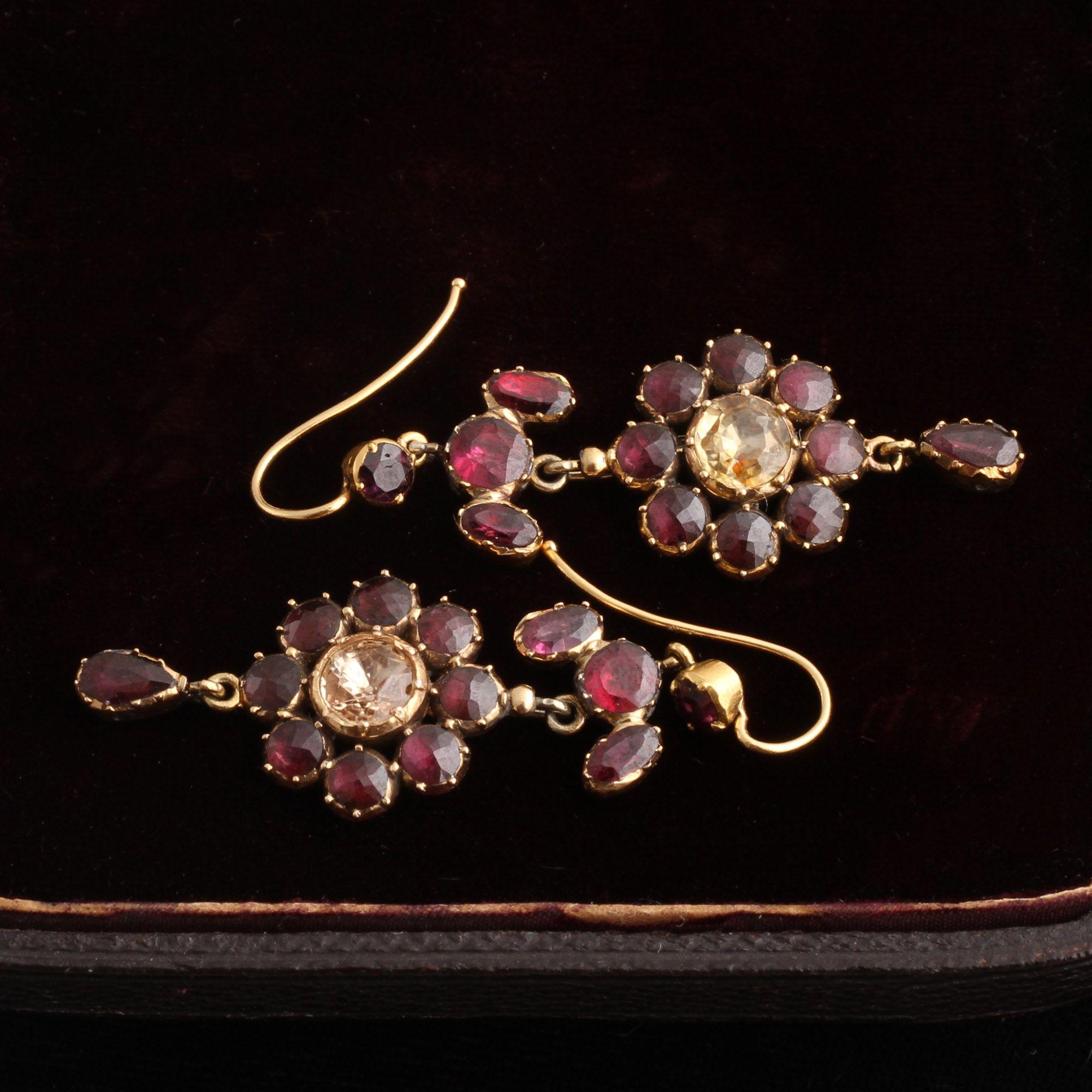 Georgian Garnet and Citrine Drop Earrings