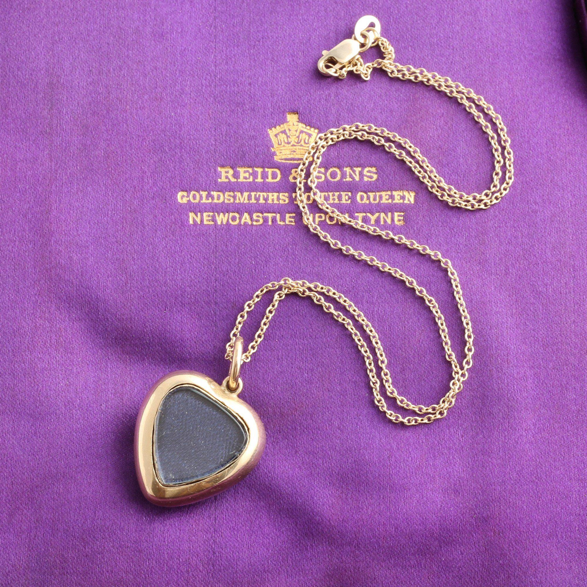 Victorian Black Enamel, Pearl & Diamond Heart Locket