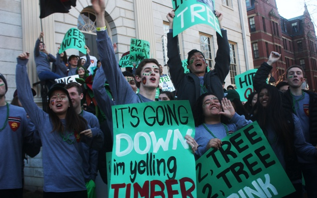 Spirited members of Currier House gather in front of University Hall on Housing Day. (Photo and caption credit: Lauren A. Sierra for the Harvard Crimson)
