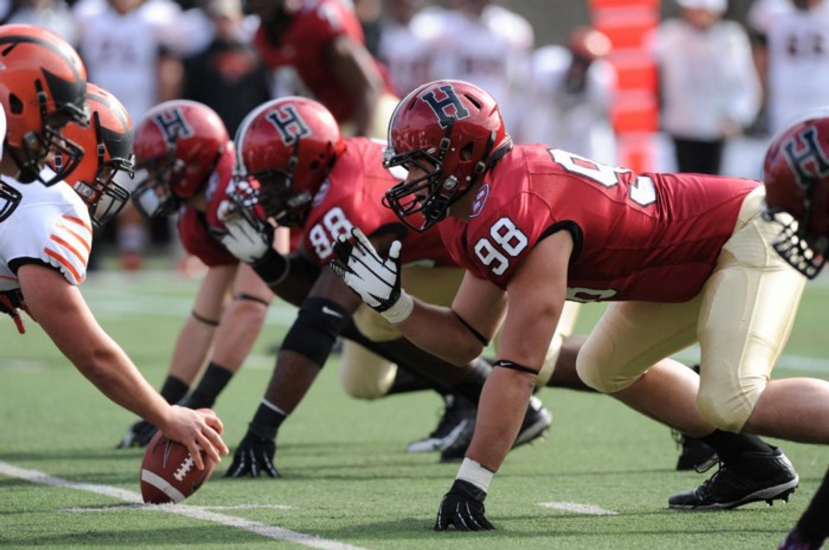 Harvard's football team in action against Princeton in 2015 (Source)