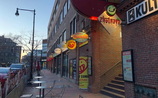 An image of restaurants in Harvard Square.