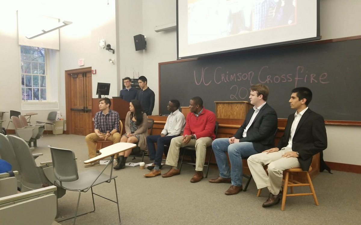 The three pairs of candidates debated this past Sunday in Harvard Hall. [Photo: Neel Mehta]