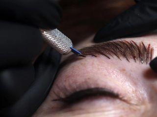 Eyebrows microblading procedure