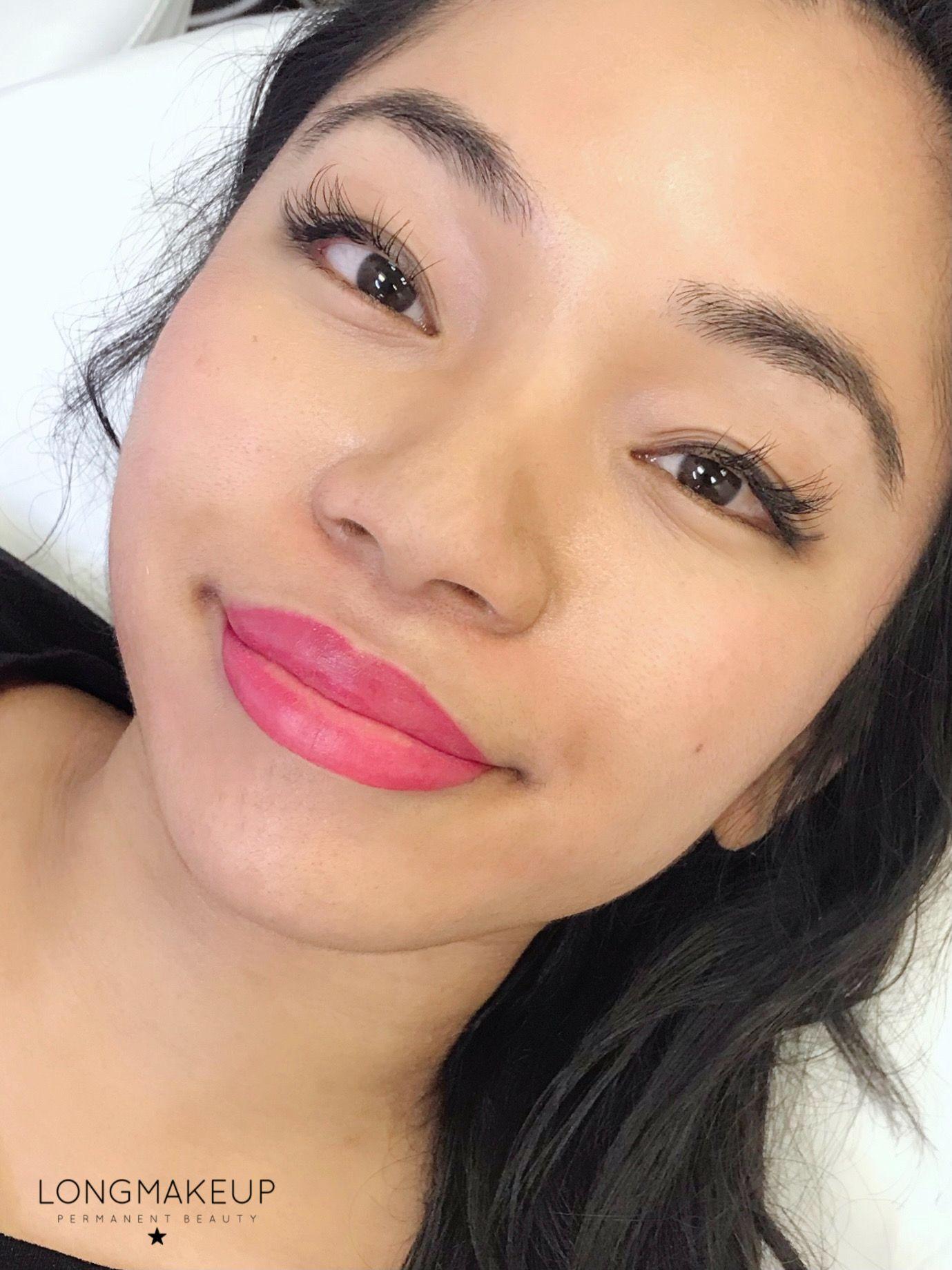 Permanent lips tattoo pink